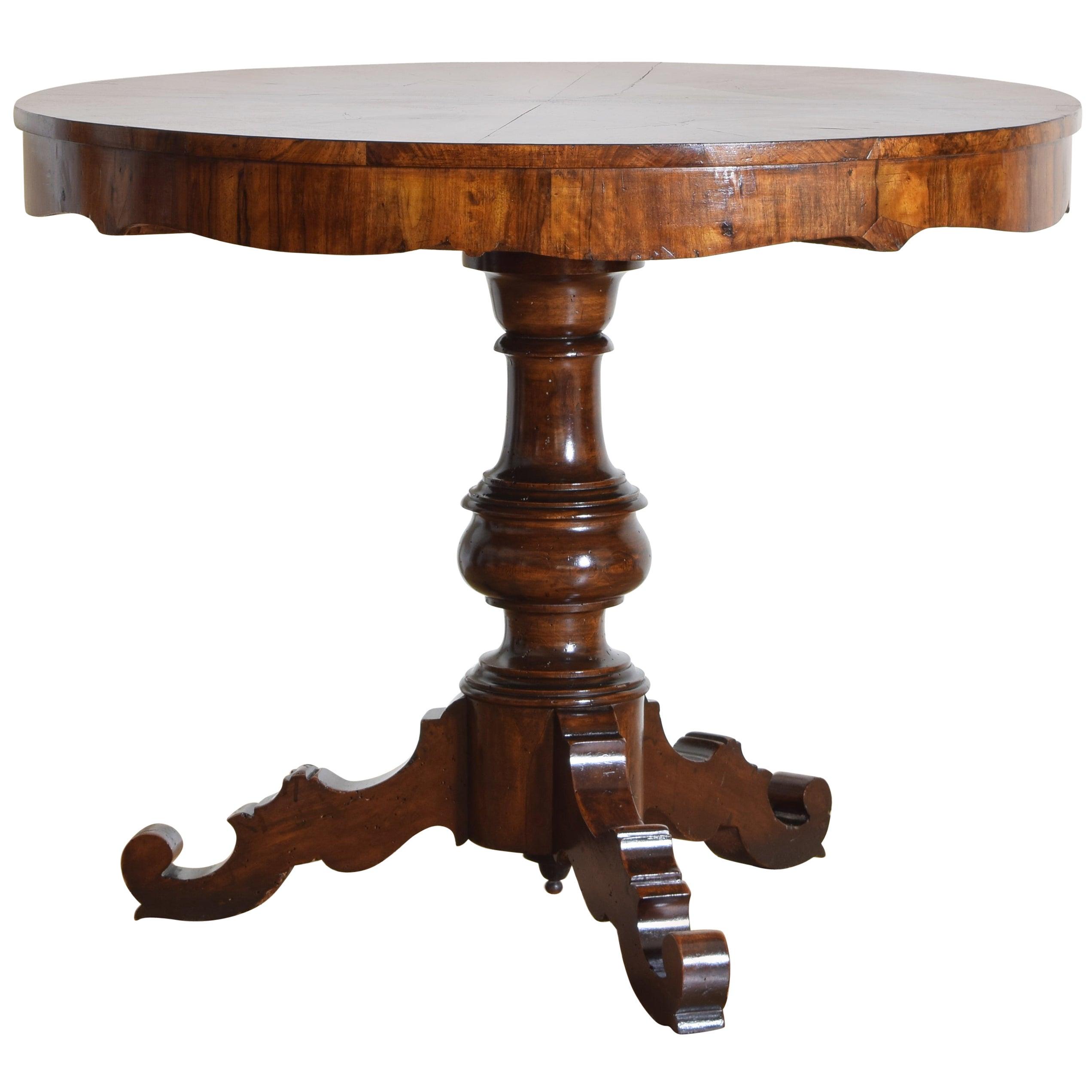 Italian, Veneto, Walnut and Walnut Veneer Center Table