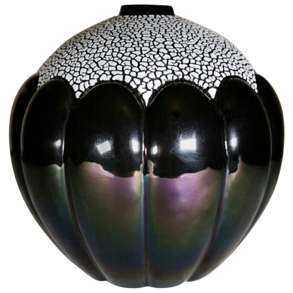 Art Deco French Glazed Ceramic Vase Signed Saint Clement