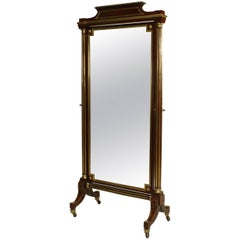 19th Century French Louis XVI Style Brass-Trimmed Mahogany Cheval Mirror