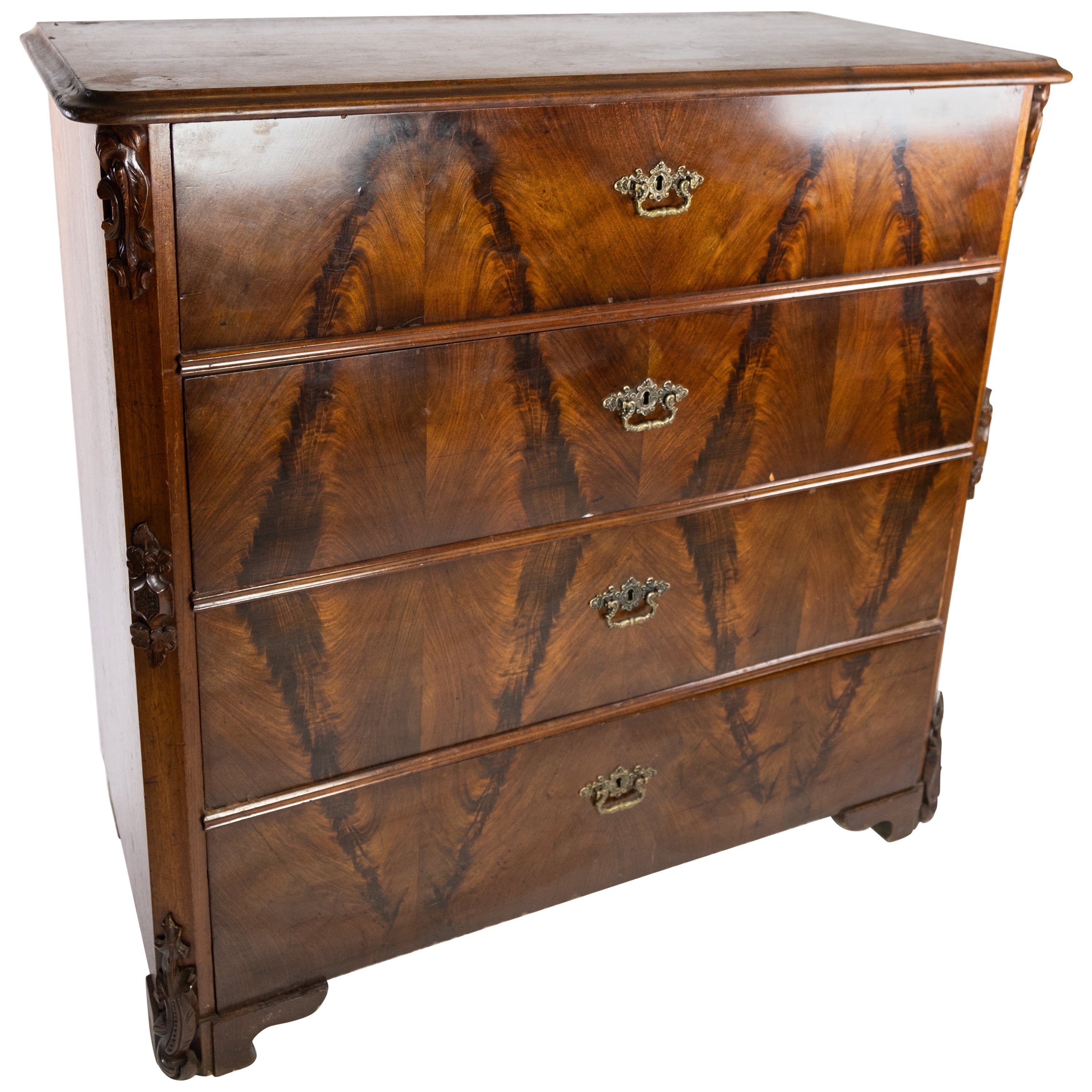 Chest of Drawers of Mahogany, in Great Antique Condition from the 1860s