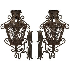 Pair of Italian Renaissance Wrought Iron Exterior Wall Lanterns