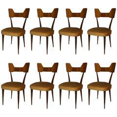 Set of Eight Mid-Century Modern Italian Rosewood Side Chairs