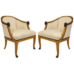 Pair of 20th Century Swedish Neoclassical Style Bergeres