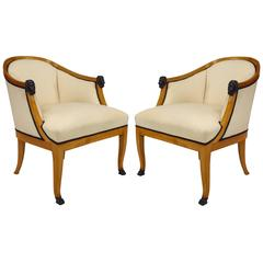 Pair of 20th Century Swedish Neoclassical Style Upholstered Birchwood Bergeres