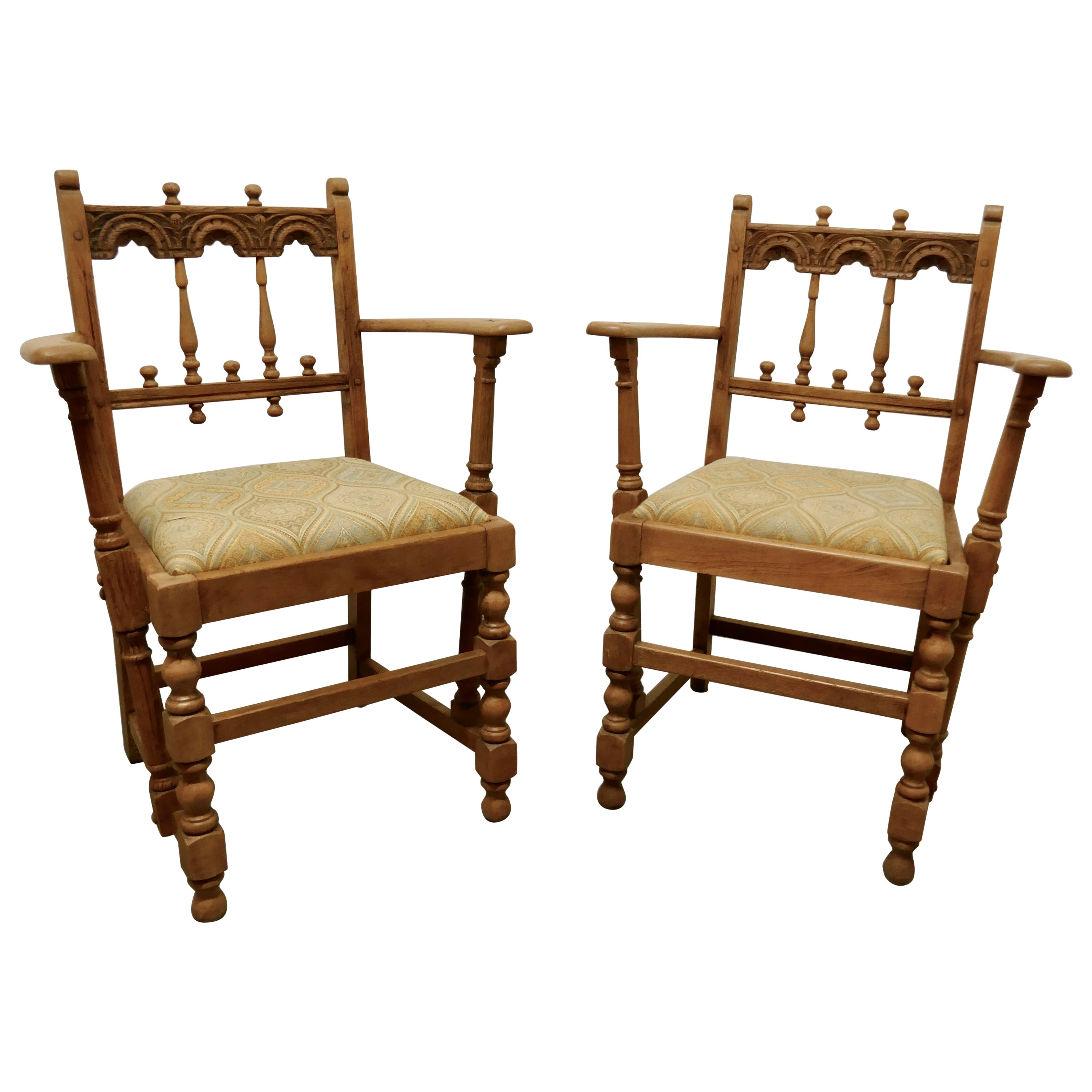 Pair of Arts & Crafts Gothic Bleached Oak Hall Chairs