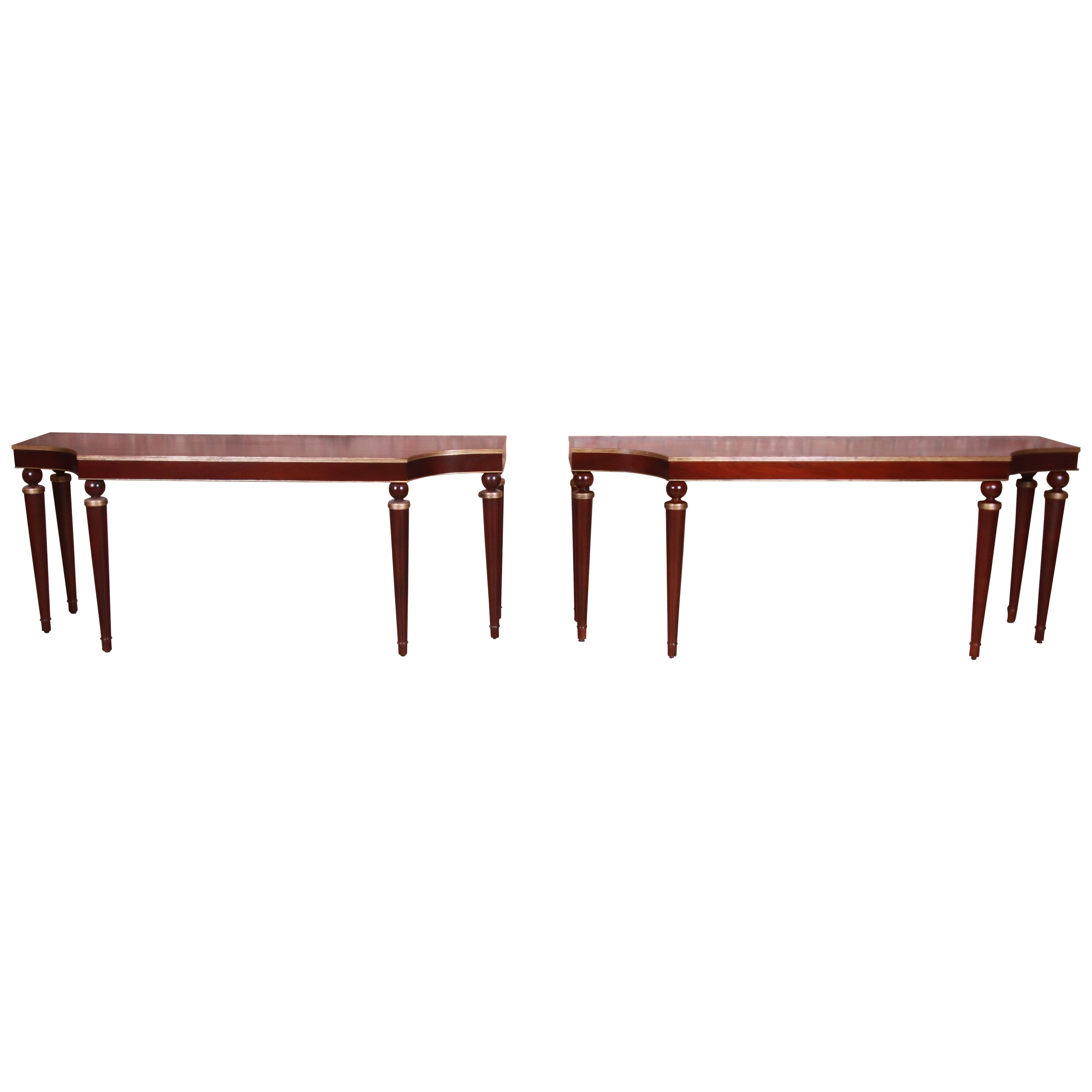 Barbara Barry for Baker Furniture Mahogany and Gold Gilt Consoles, Refinished