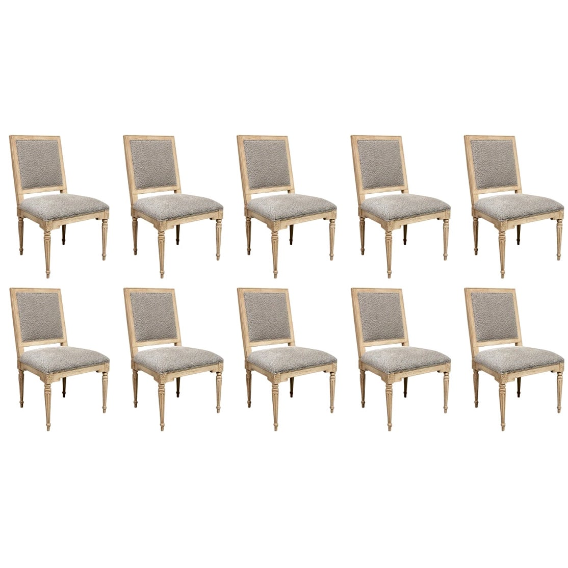 Set of Ten Gustavian Style Dining Chairs by Hickory Chair