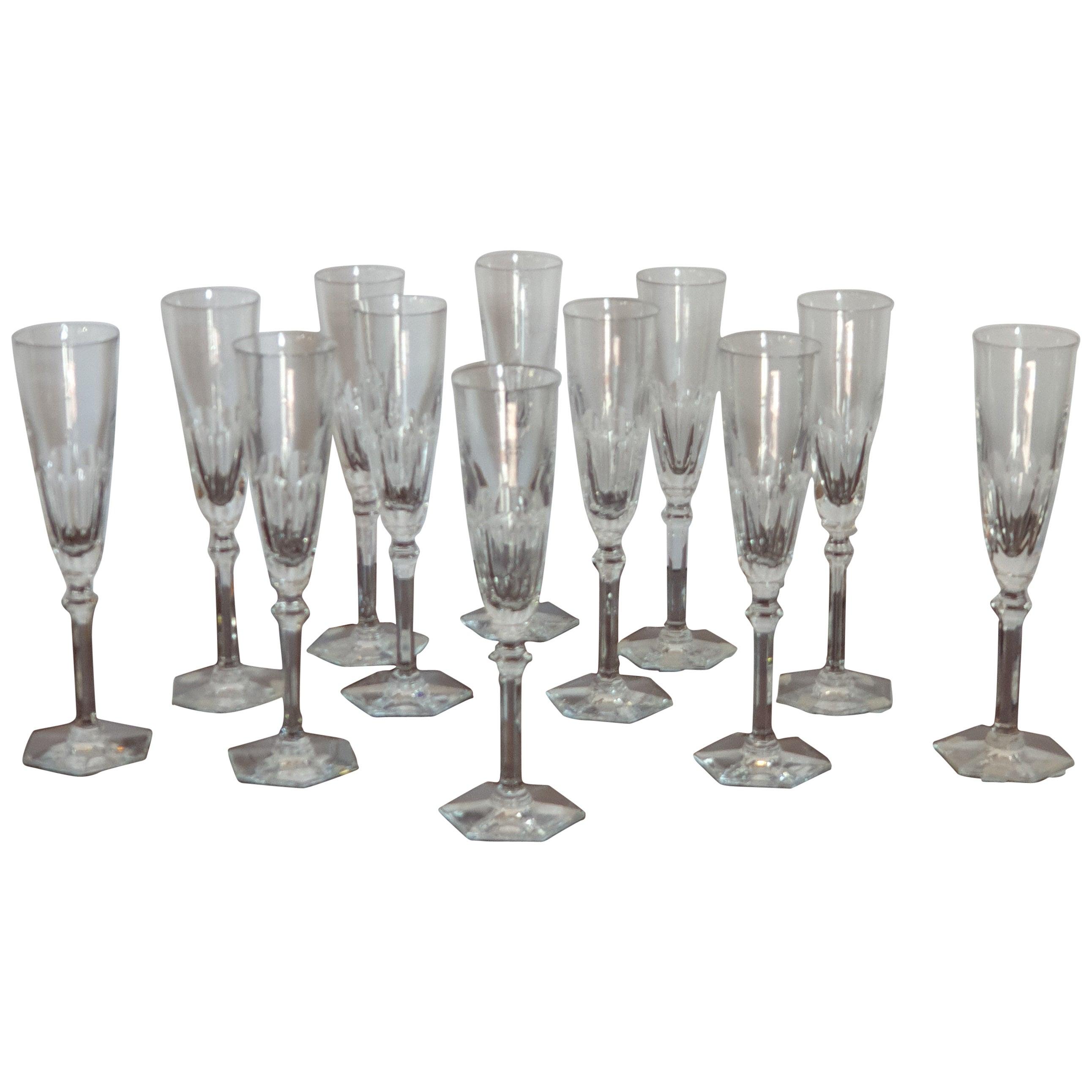 "Set of Baccarat Crystal 12 Champagne Flutes ""Harcourt Eve"" Stemware, France, New"