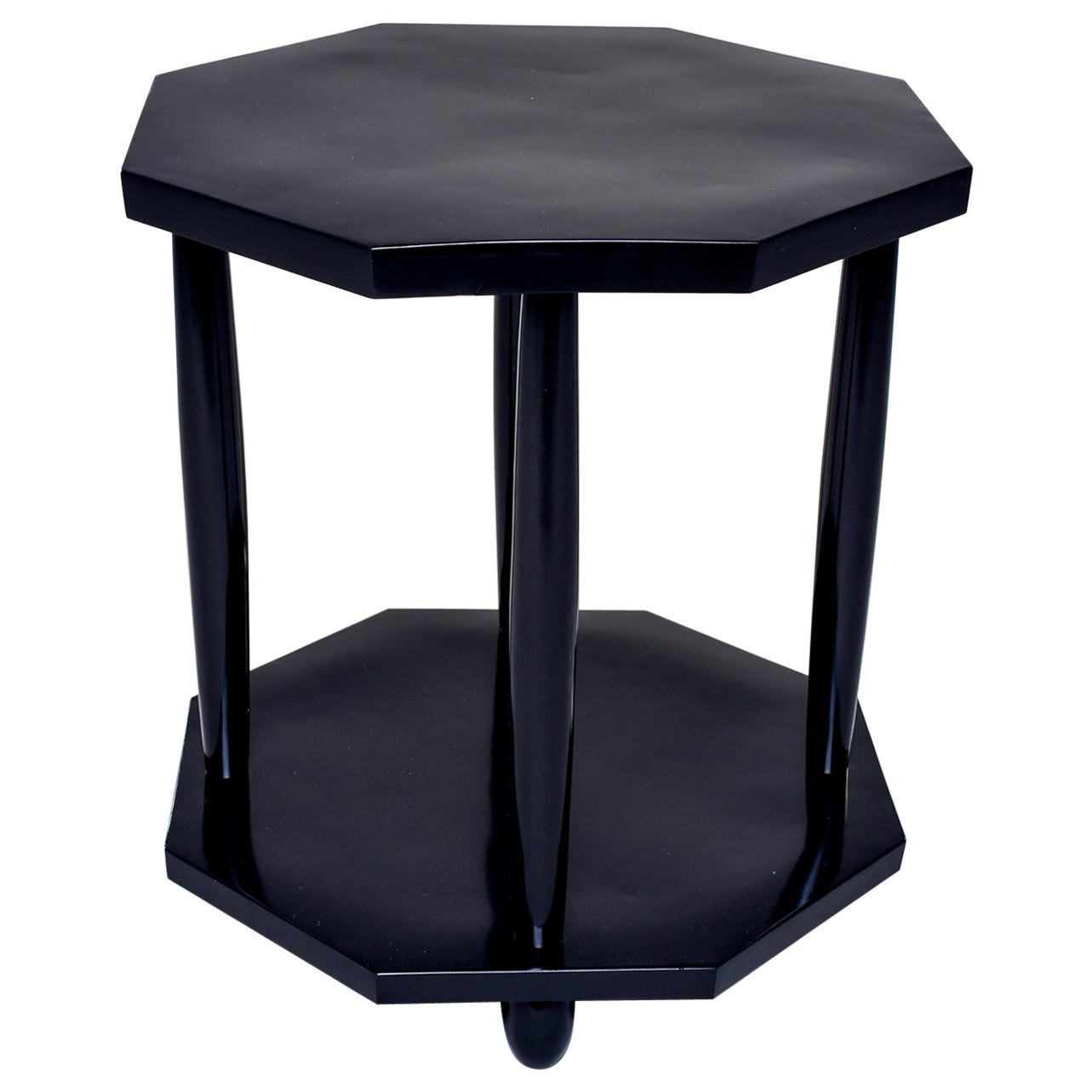 French Art Deco Eight-Sided Ebonized Side Table