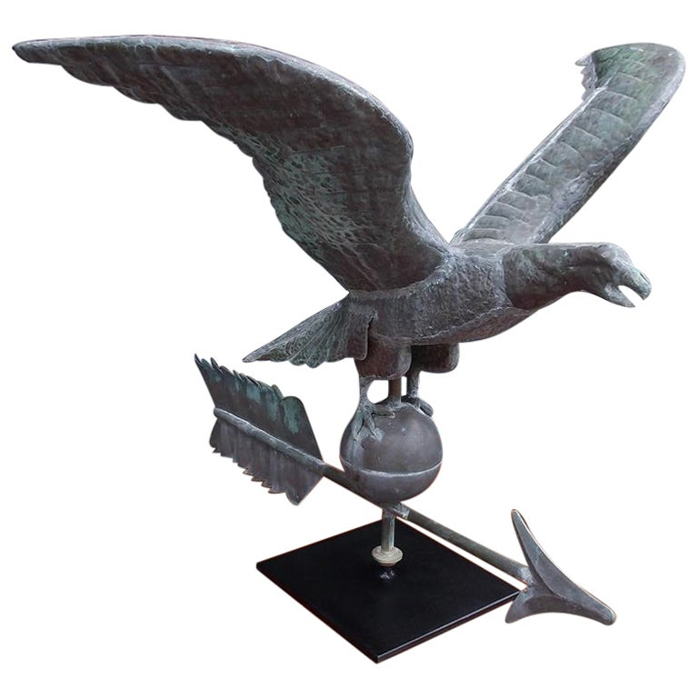 American Copper Spread Winged Eagle Weathervane with Sphere and Arrow, C. 1870