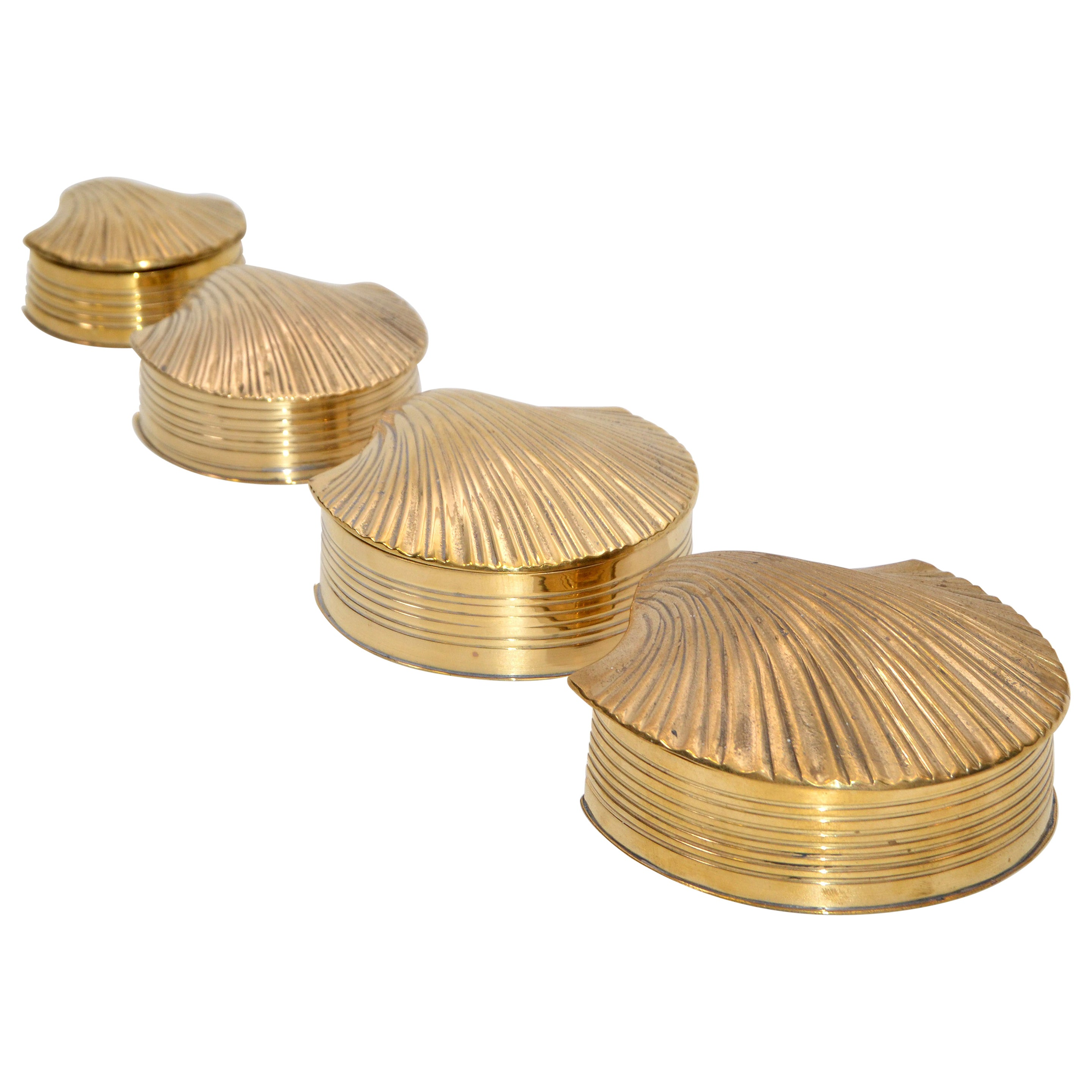 4 in 1 Nesting Vintage Brass Shell Scallop Shaped Trinket Boxes, Keepsakes 1970s