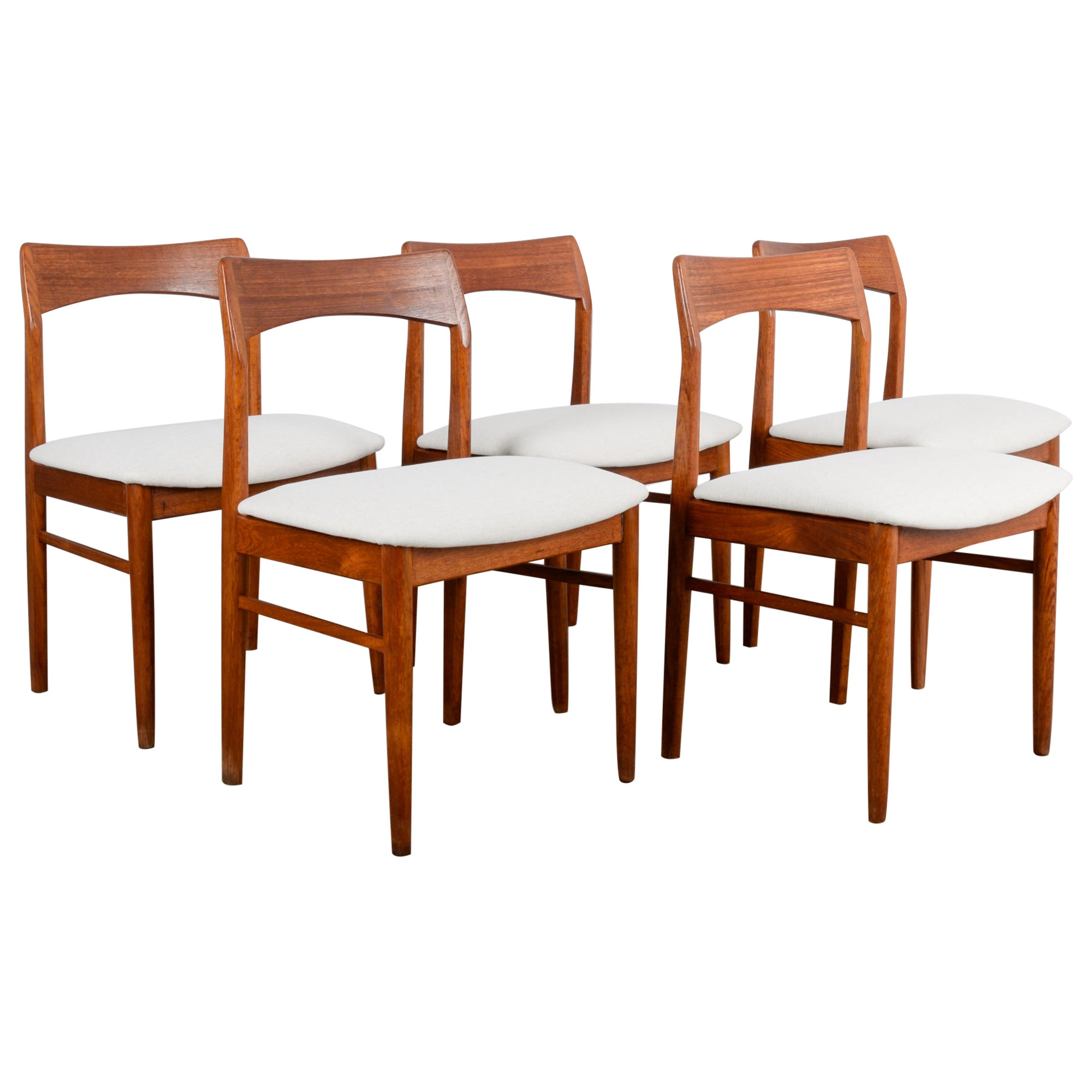 1960s Danish Teak Dining Chairs with Upholstered Seat, Set of Five