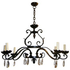 Horizontal Wrought Iron Chandelier with Crystal Pendants