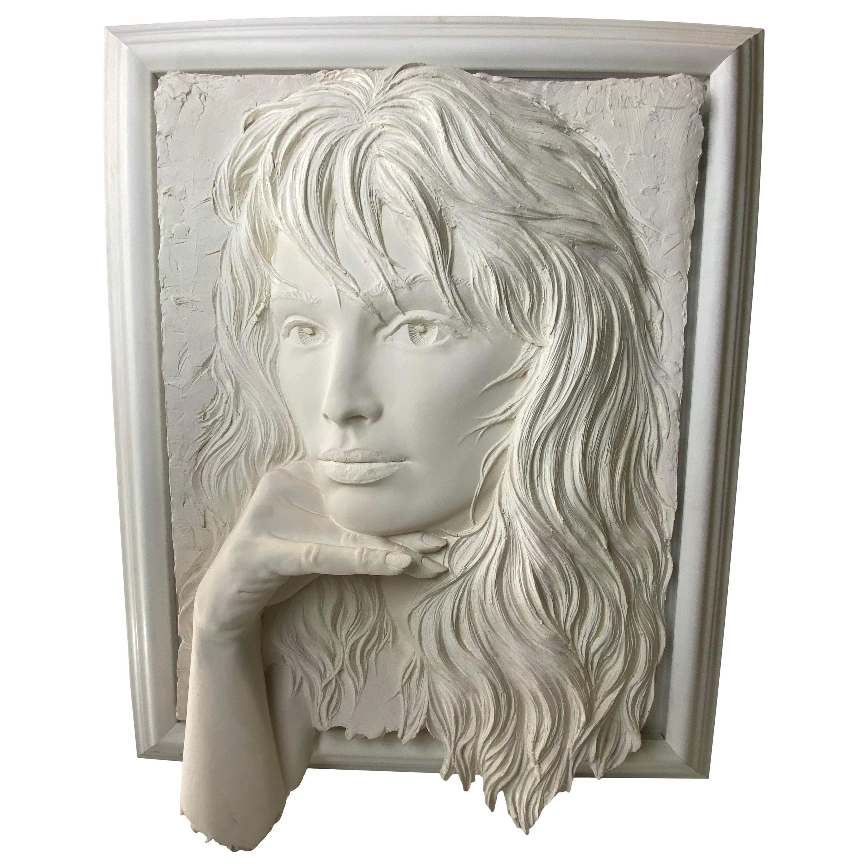 Vintage Bill Mack Large Bonded Sand Relief Sculpture Hand Signed Female