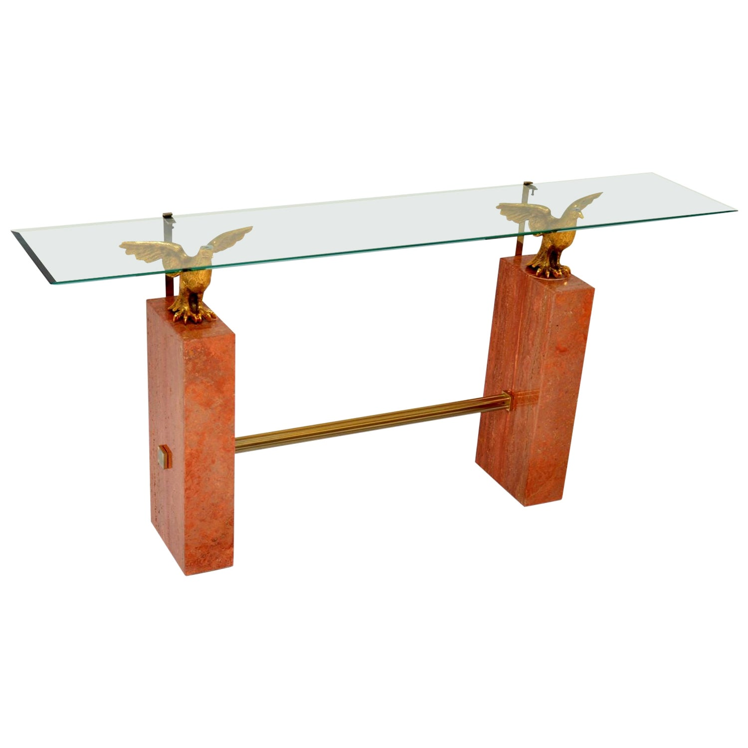 1970s Vintage Marble / Brass / Glass Console Table