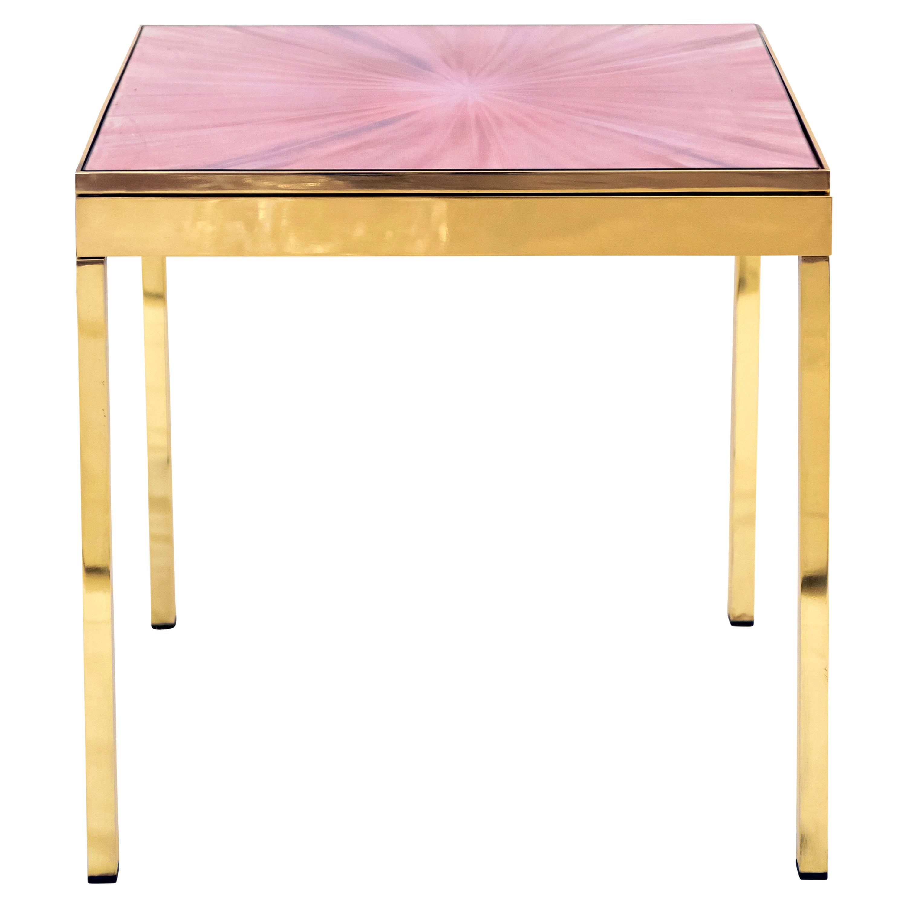 The Rays II Pink Brass Bedside Table by Allegra Hicks