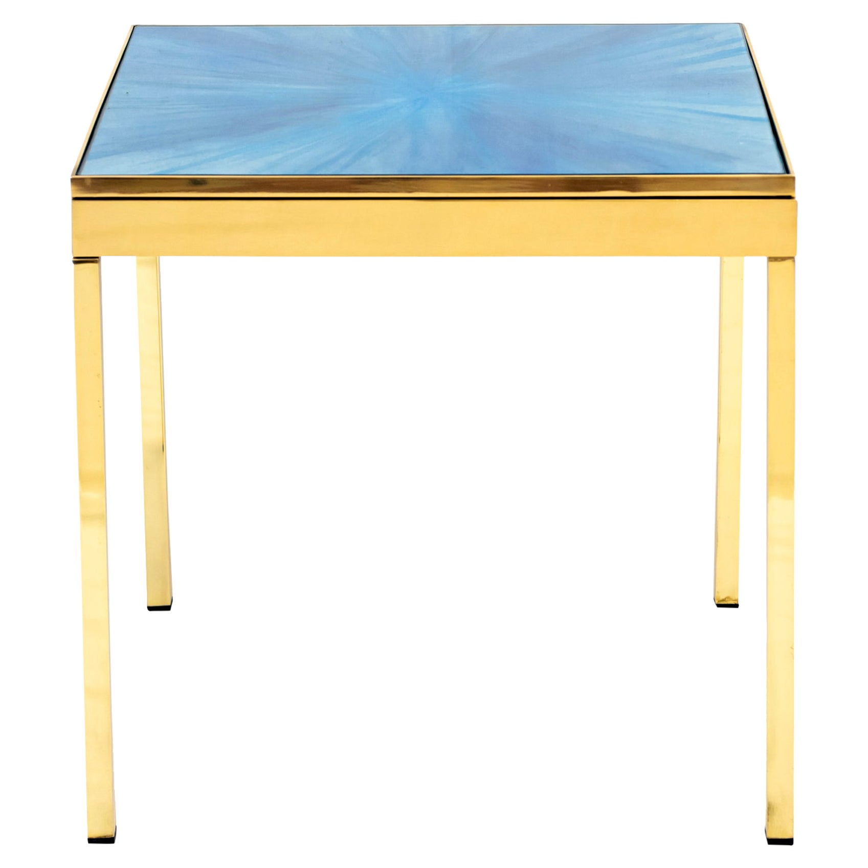 The Rays I Blue Brass Bedside Table by Allegra Hicks