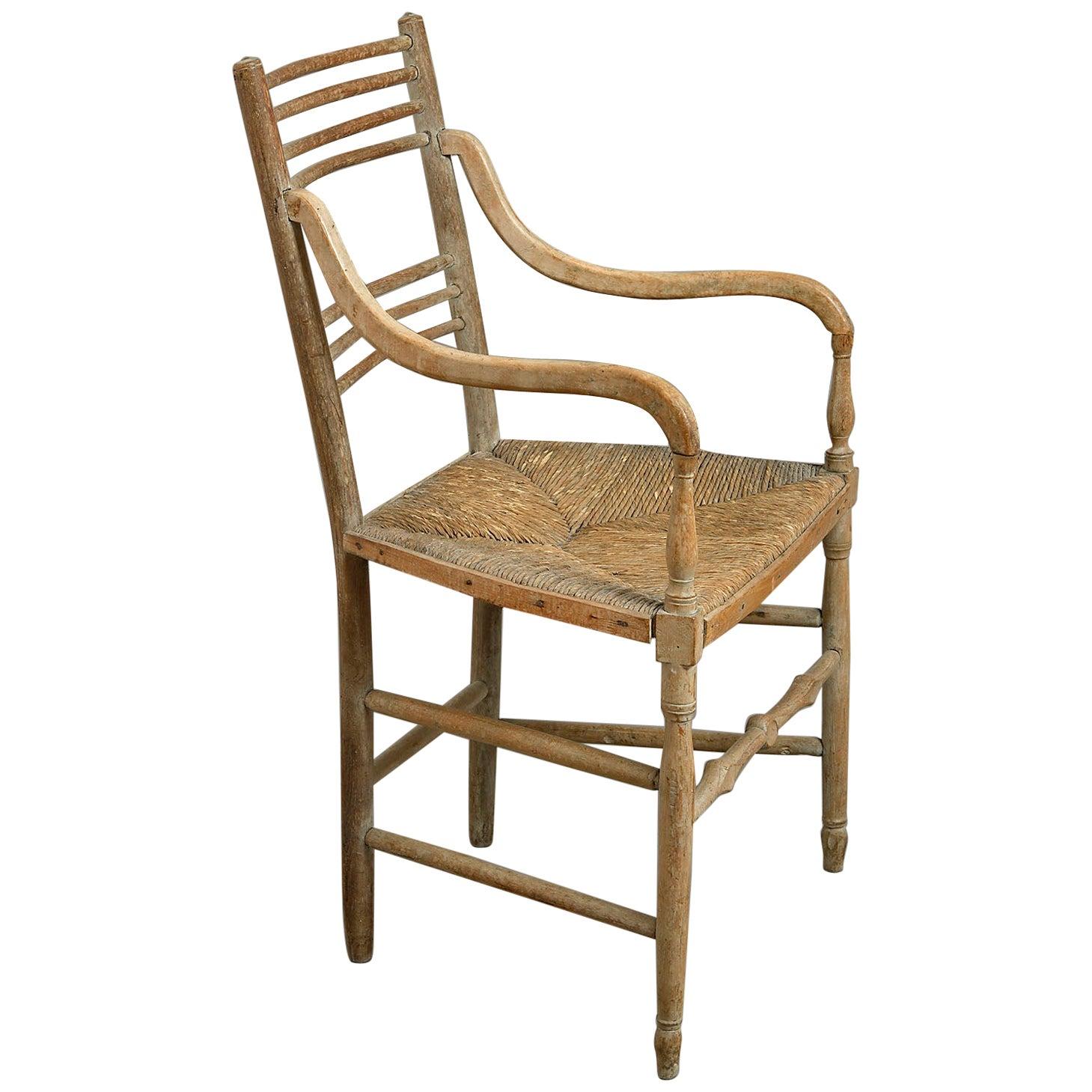 Early 19th Century Regency Rush-Seated Armchair