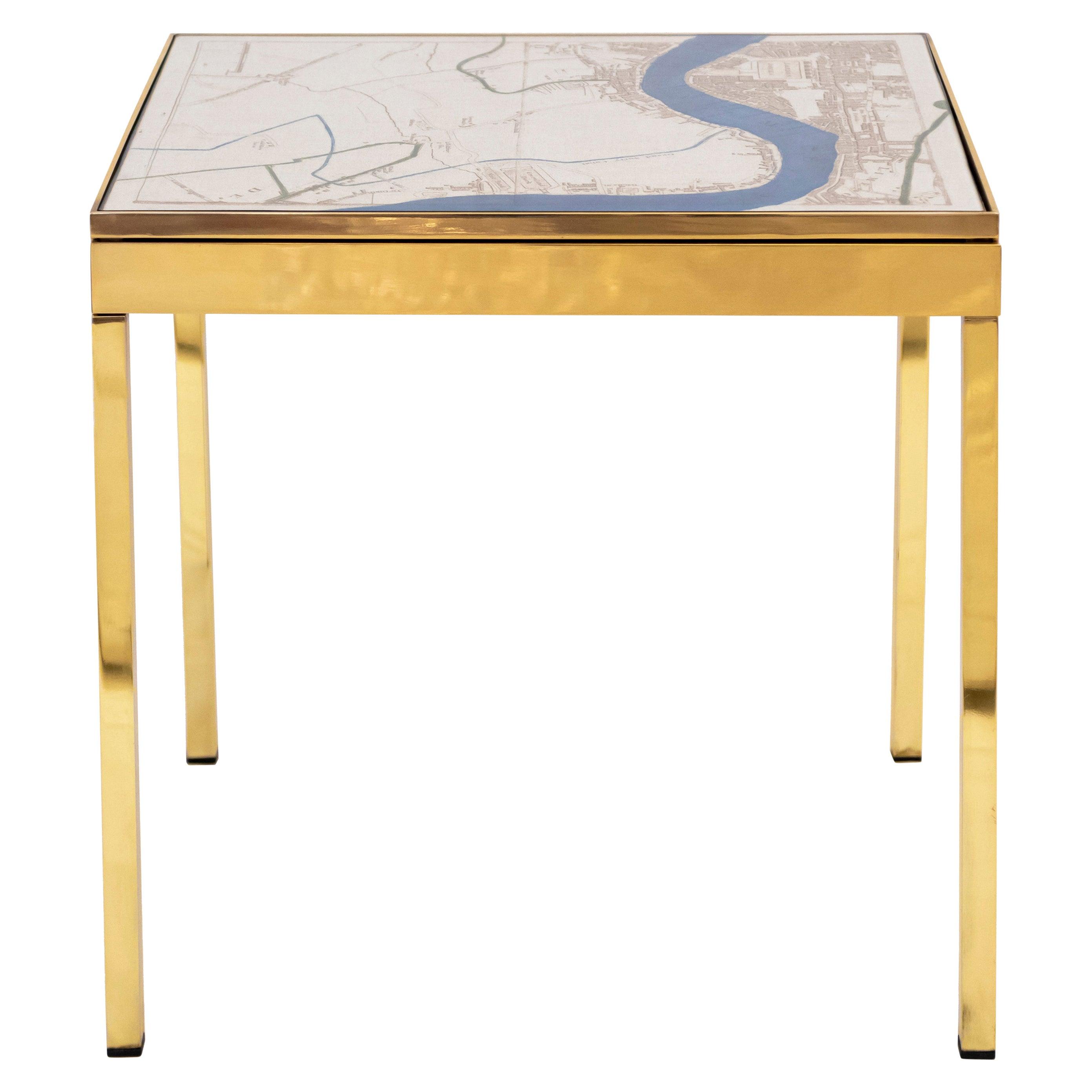 Iris London I Brass Bedside Table by Allegra Hicks
