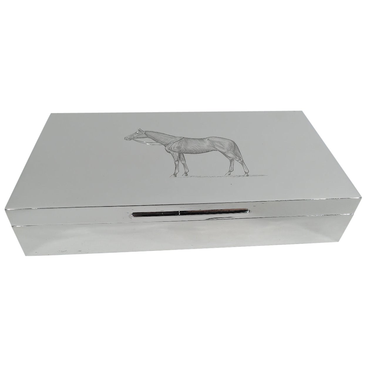 Traditional English Sterling Silver Horse Desk Box
