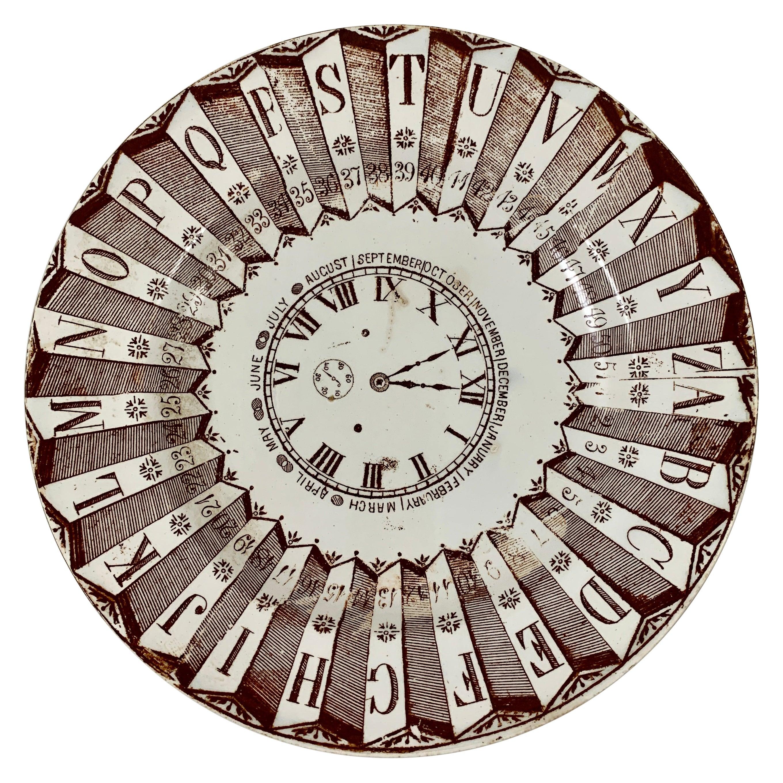 English Staffordshire Transferware Child's ABC Clock Teaching Plate, Brown