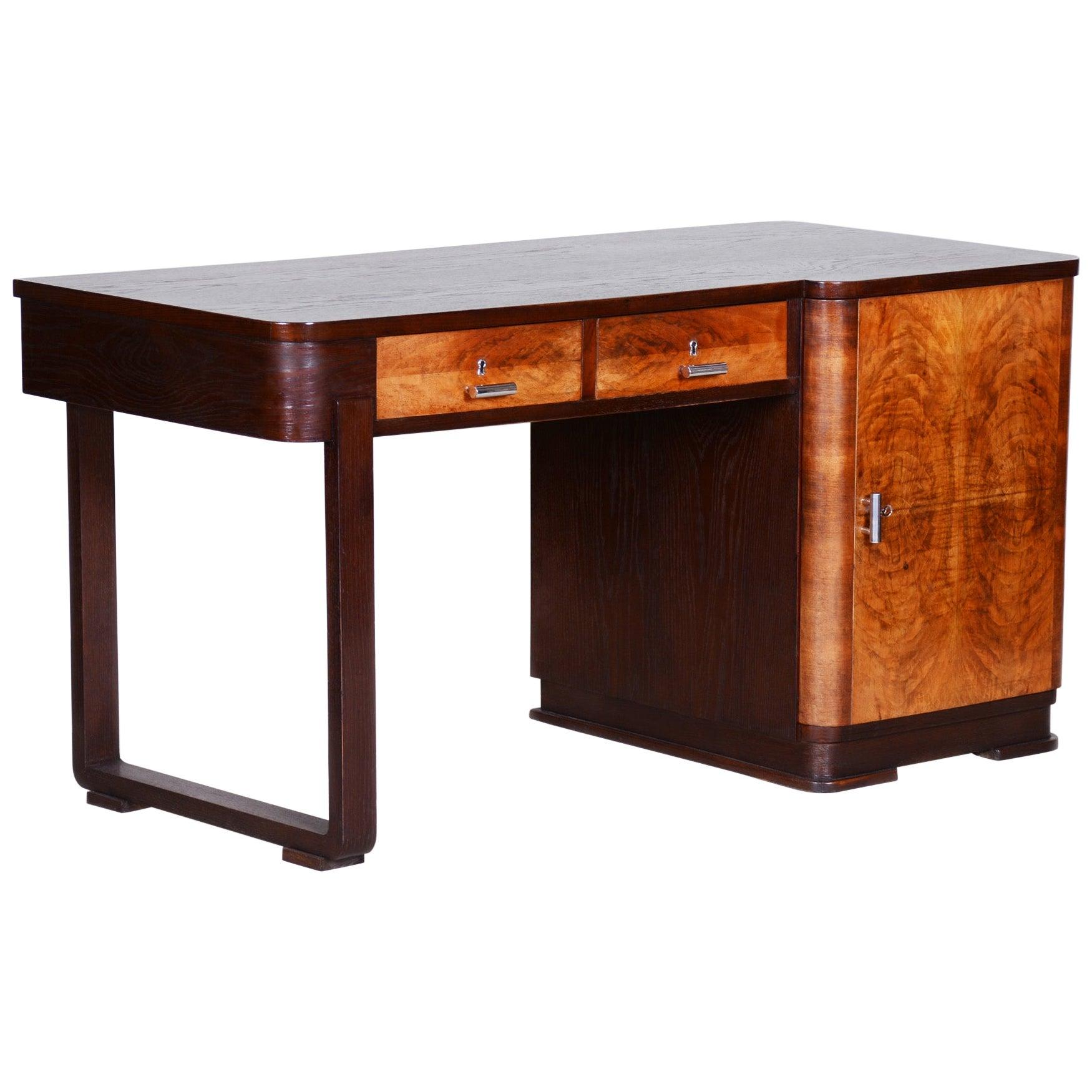 Unusual Art Deco Writing Desk, Oak and Walnut Veneer, Czechia 'Bohemia', 1930s