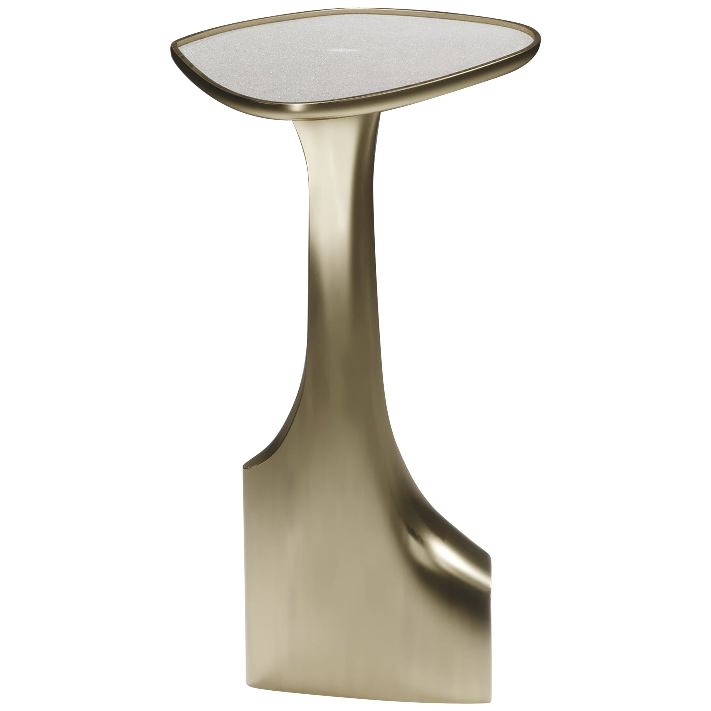 Shagreen Triptych Side Table with Bronze-Patina Brass Accents by R&Y Augousti