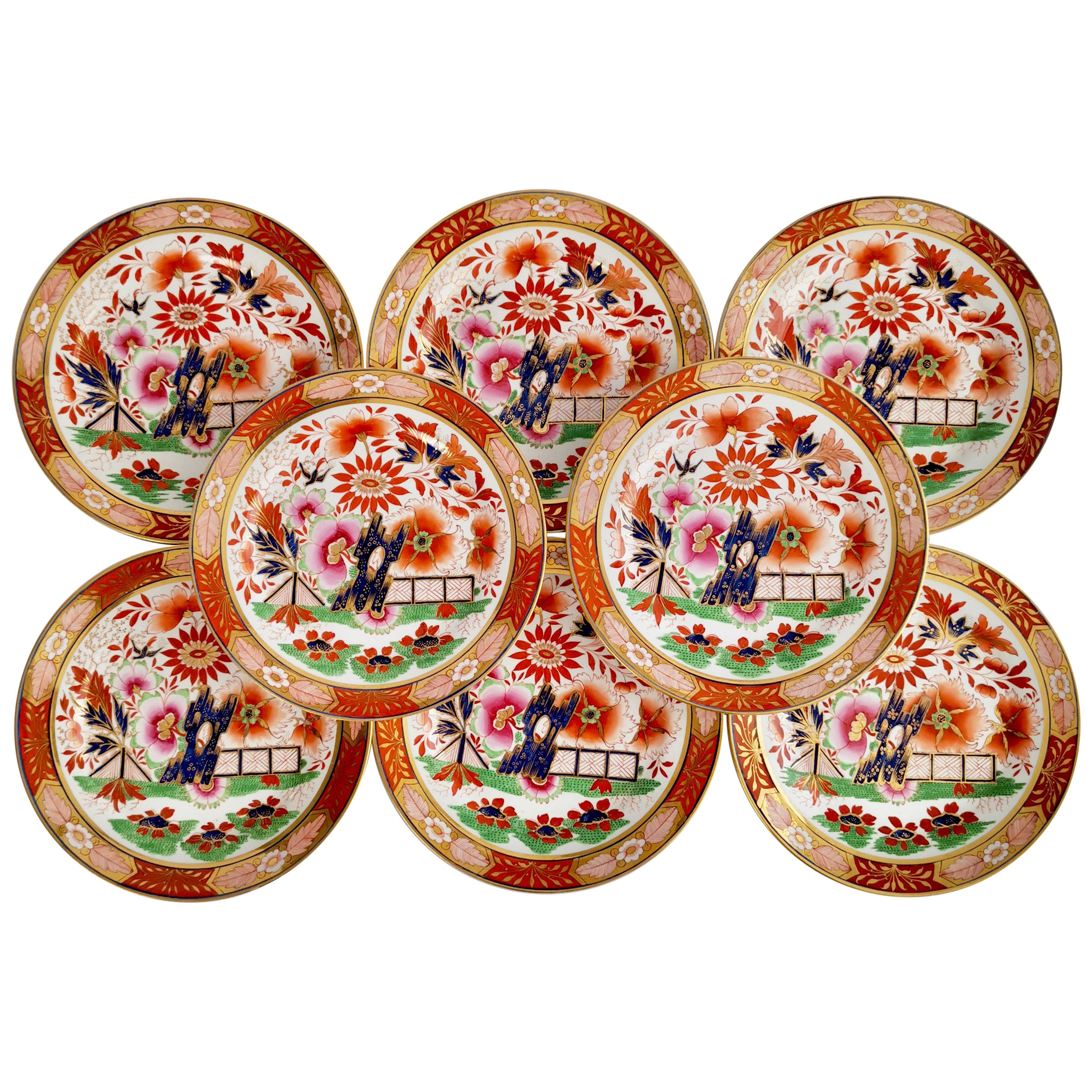 Set of 8 Barr Flight & Barr Porcelain Plates, Imari Fence, Regency, 1811-1813