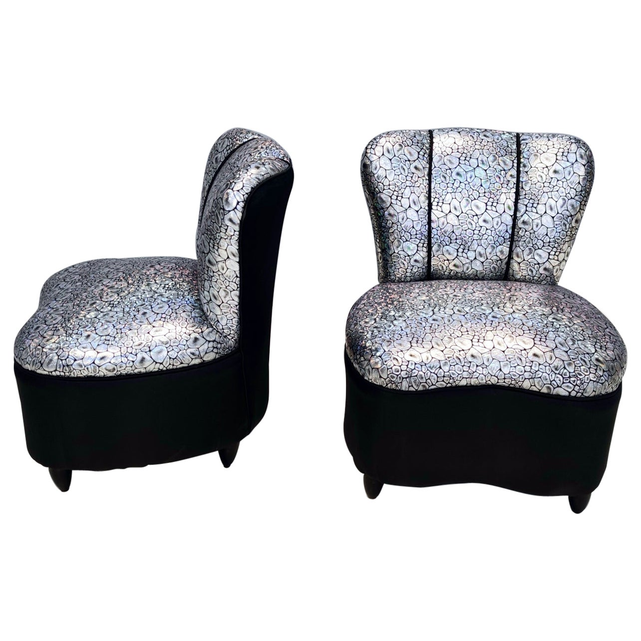 Pair of Midcentury Holographic Fabric Lounge Chairs, Italy