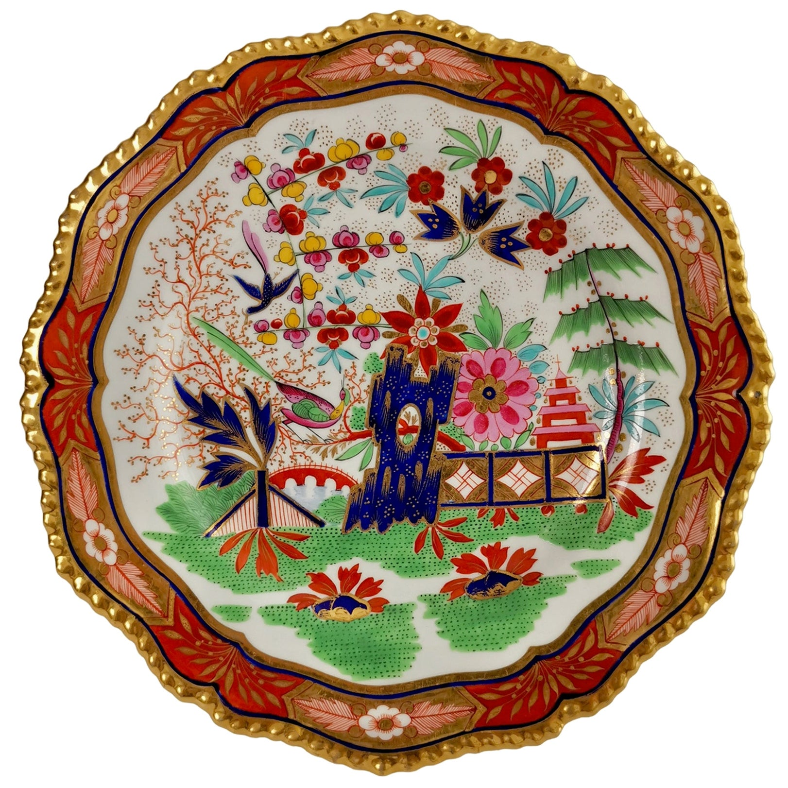 Flight Barr & Barr Porcelain Plate, Rich Imari Pattern, Regency circa 1825