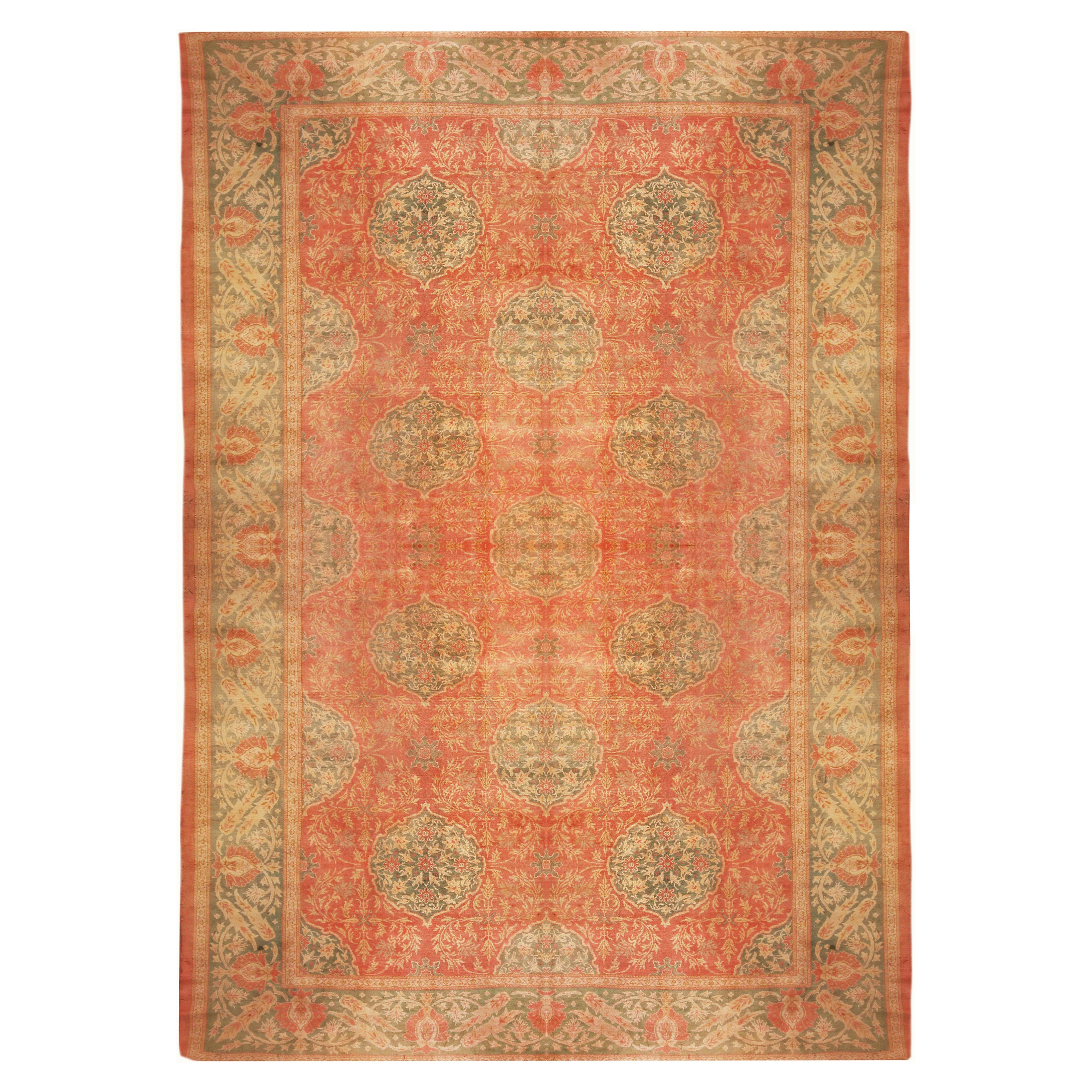 Hand Knotted Antique Oushak Rug in Red and Green Floral Pattern