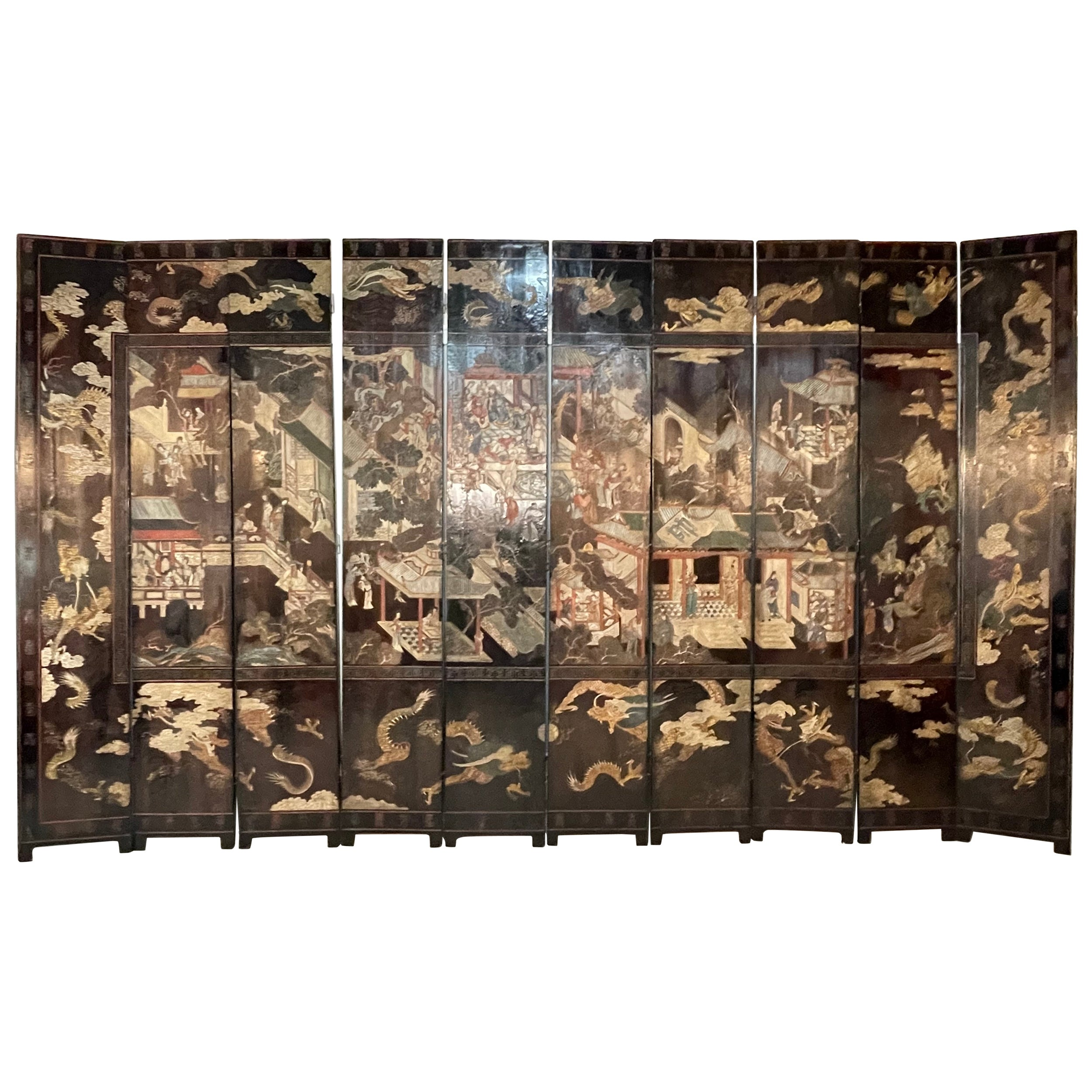 Mid-18th Century Chinese Coromandel Ten Fold Screen / Room Divider
