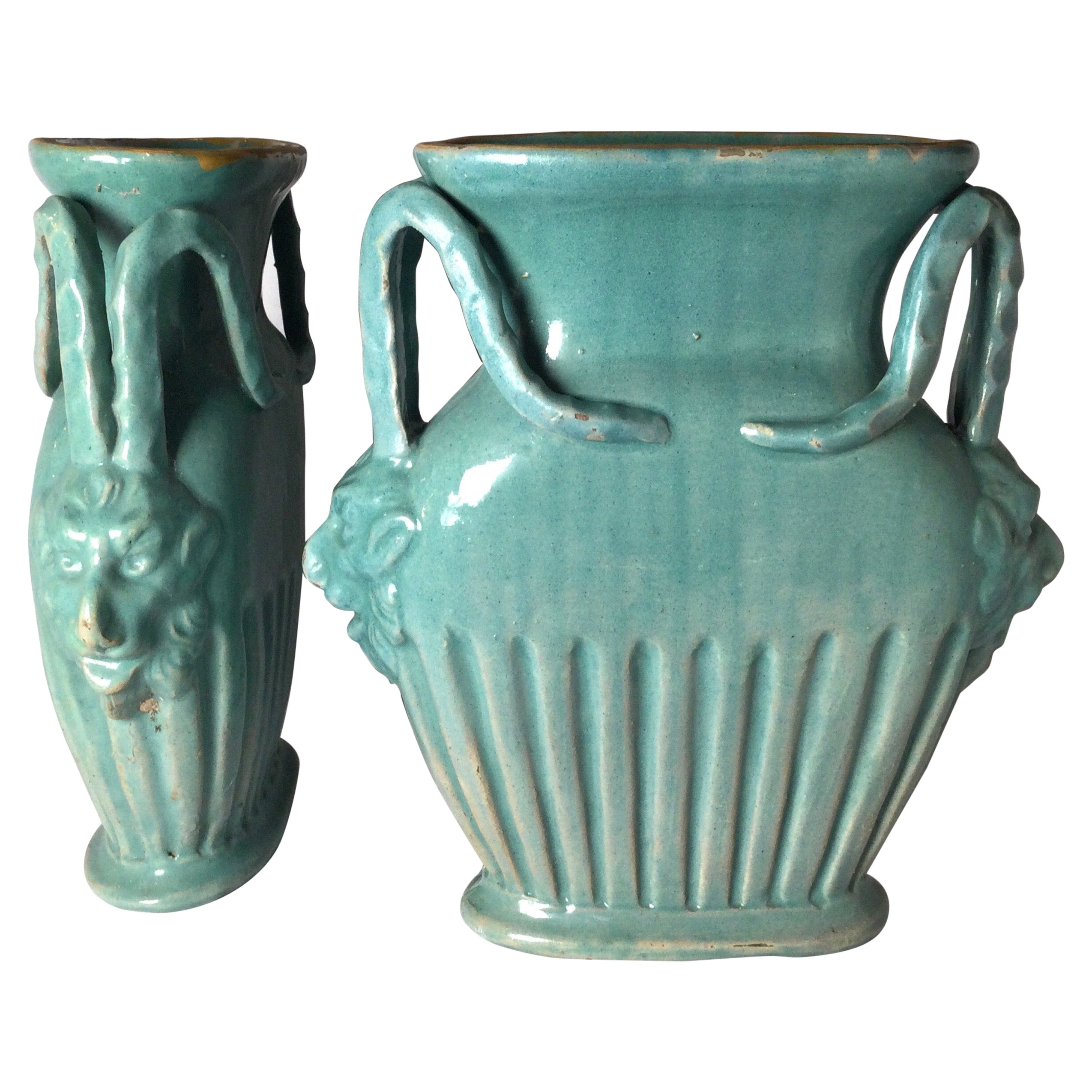 Pair of Italian Turquoise Pottery Vases with Mythical Handles
