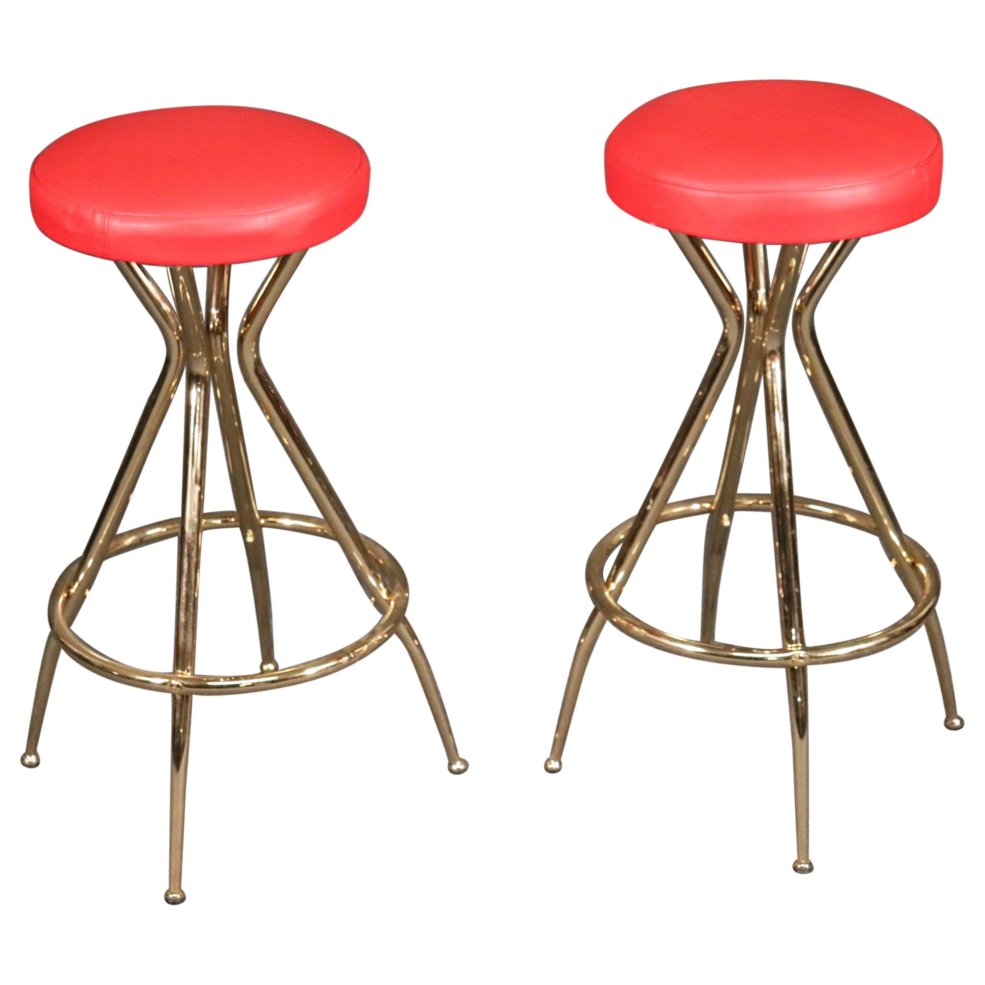 Pair of Gio Ponti Style Italian Midcentury Modern Bar Counter Stools