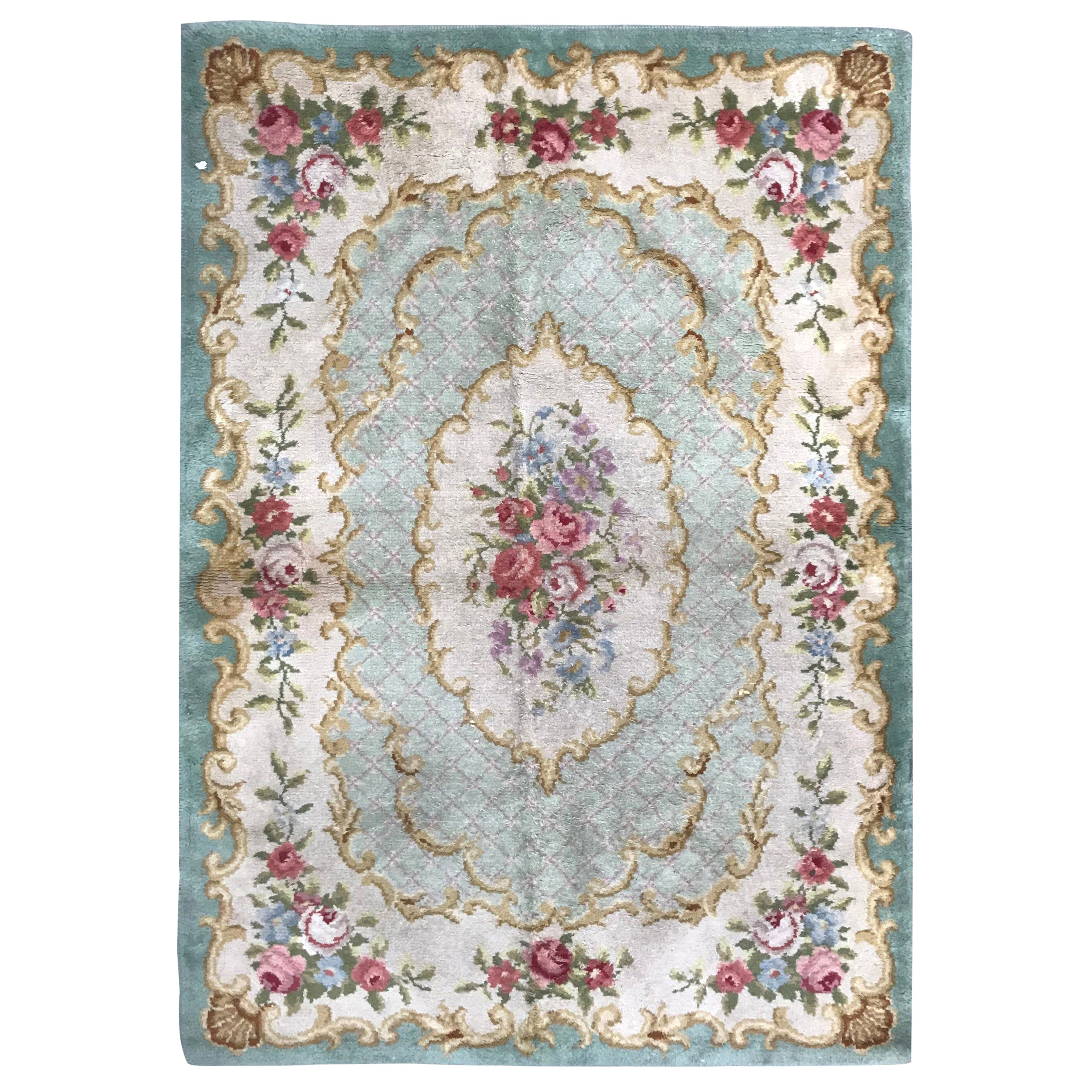 Antique Early 20th Century Aubusson Savonnerie Rug