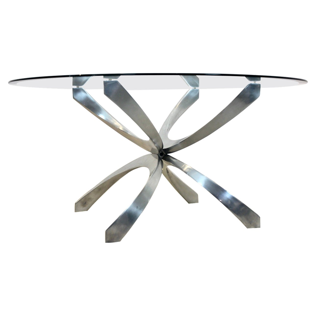 Modernist Sculptural Aluminum and Glass Coffee Table by Knut Hesterberg, 1970s