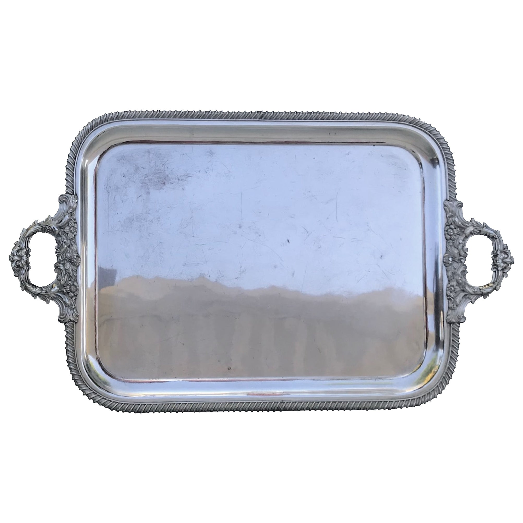 Vintage Large Silver Plate Butler Tray