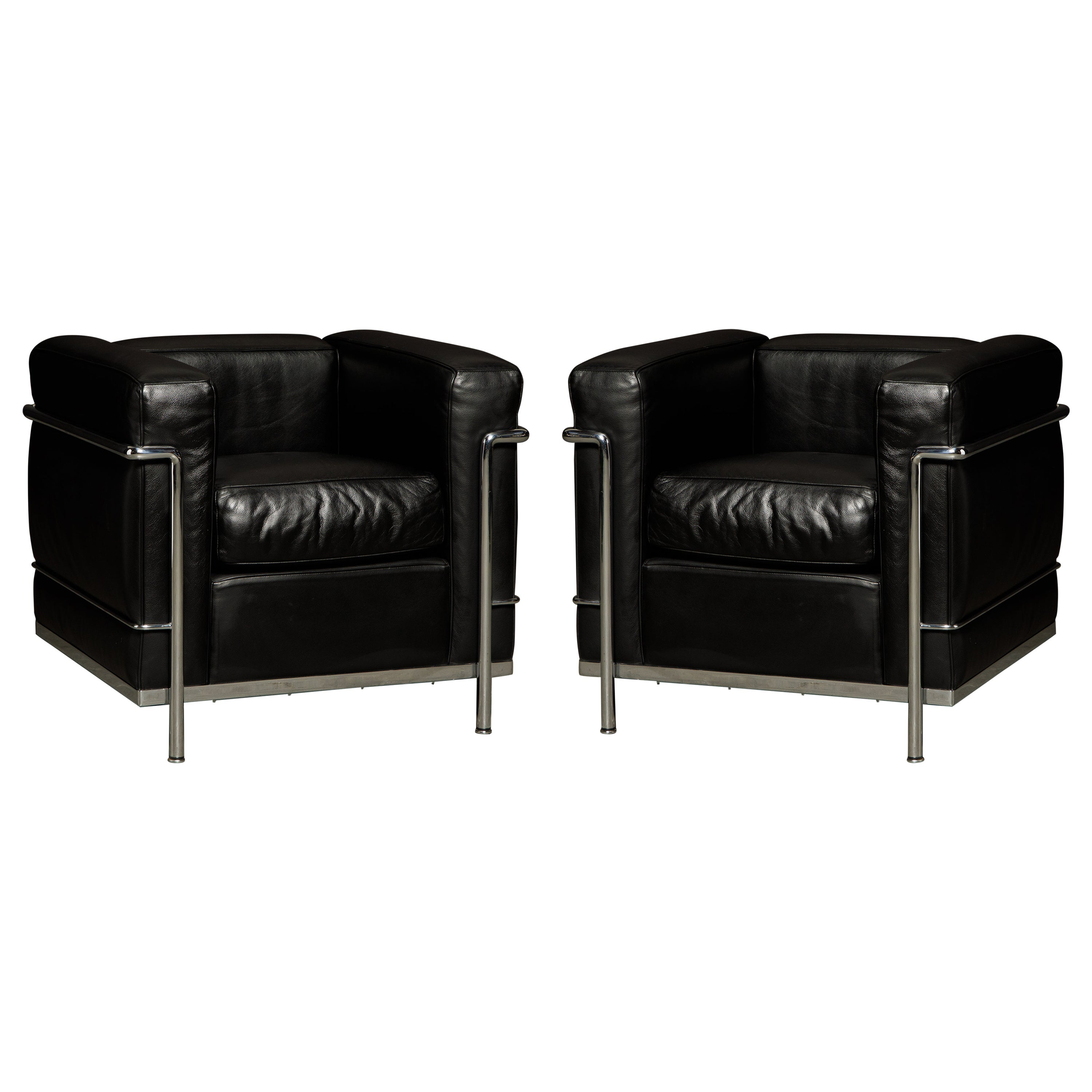 Pair of 'LC2' Black Leather Club Chairs by Le Corbusier for Cassina, Signed