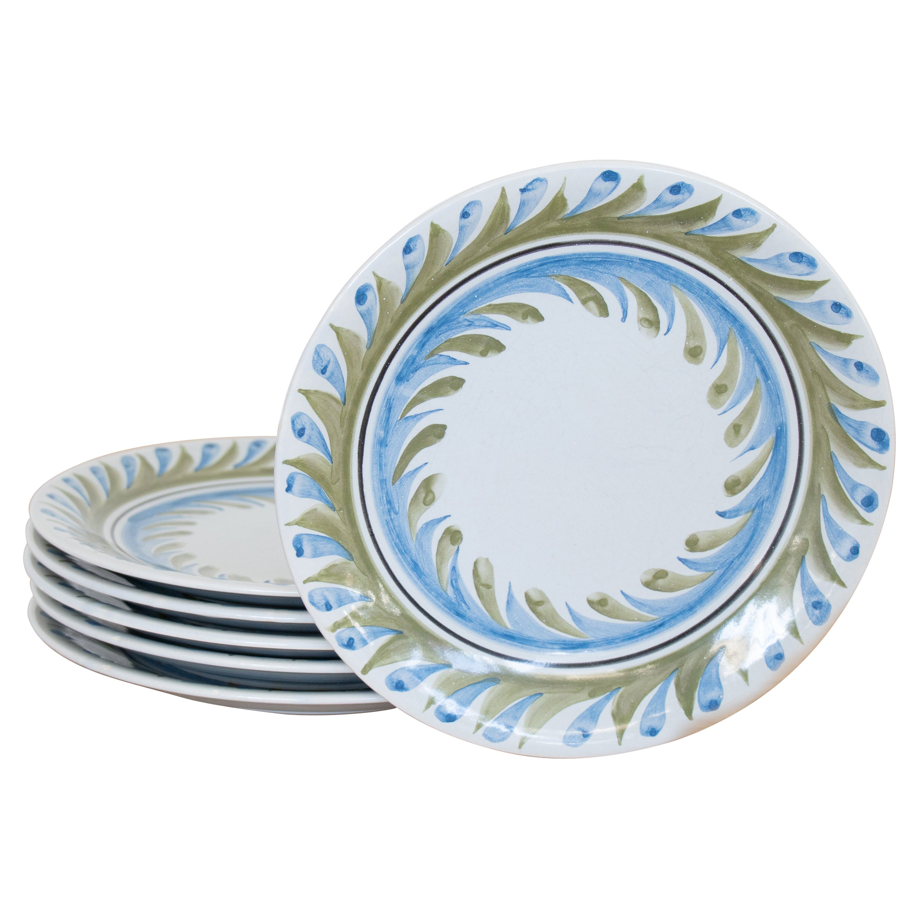Set of 6 Roger Capron Painted Plates