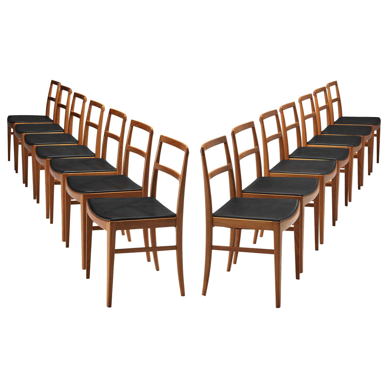 Arne Vodder Set of 14 Dining Chairs Model 430 in Teak