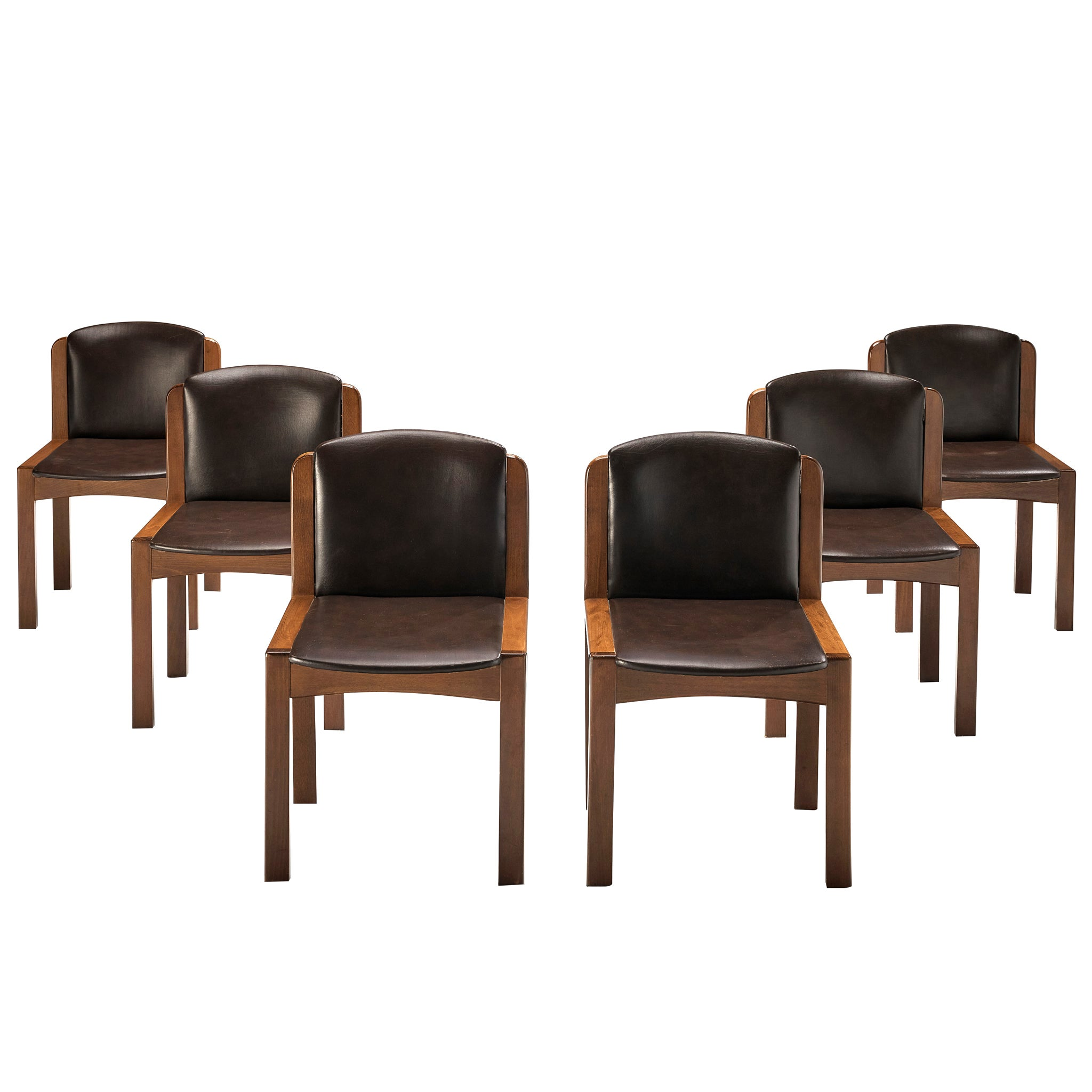 Joe Colombo Set of Six '300' Dining Chairs in Brown Leatherette