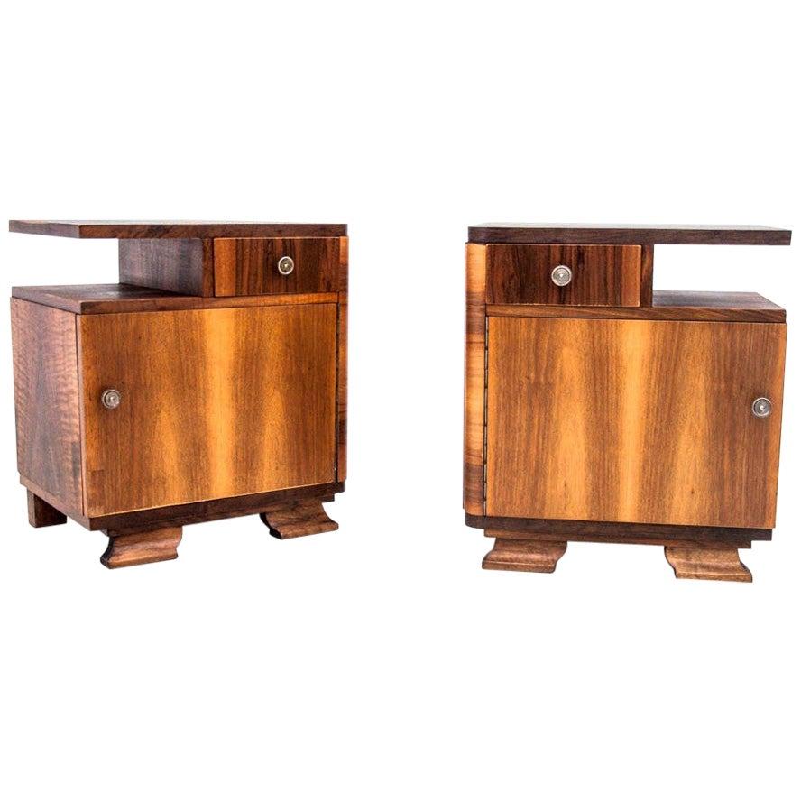 Art Deco Bedside Tables, Poland, 1960s