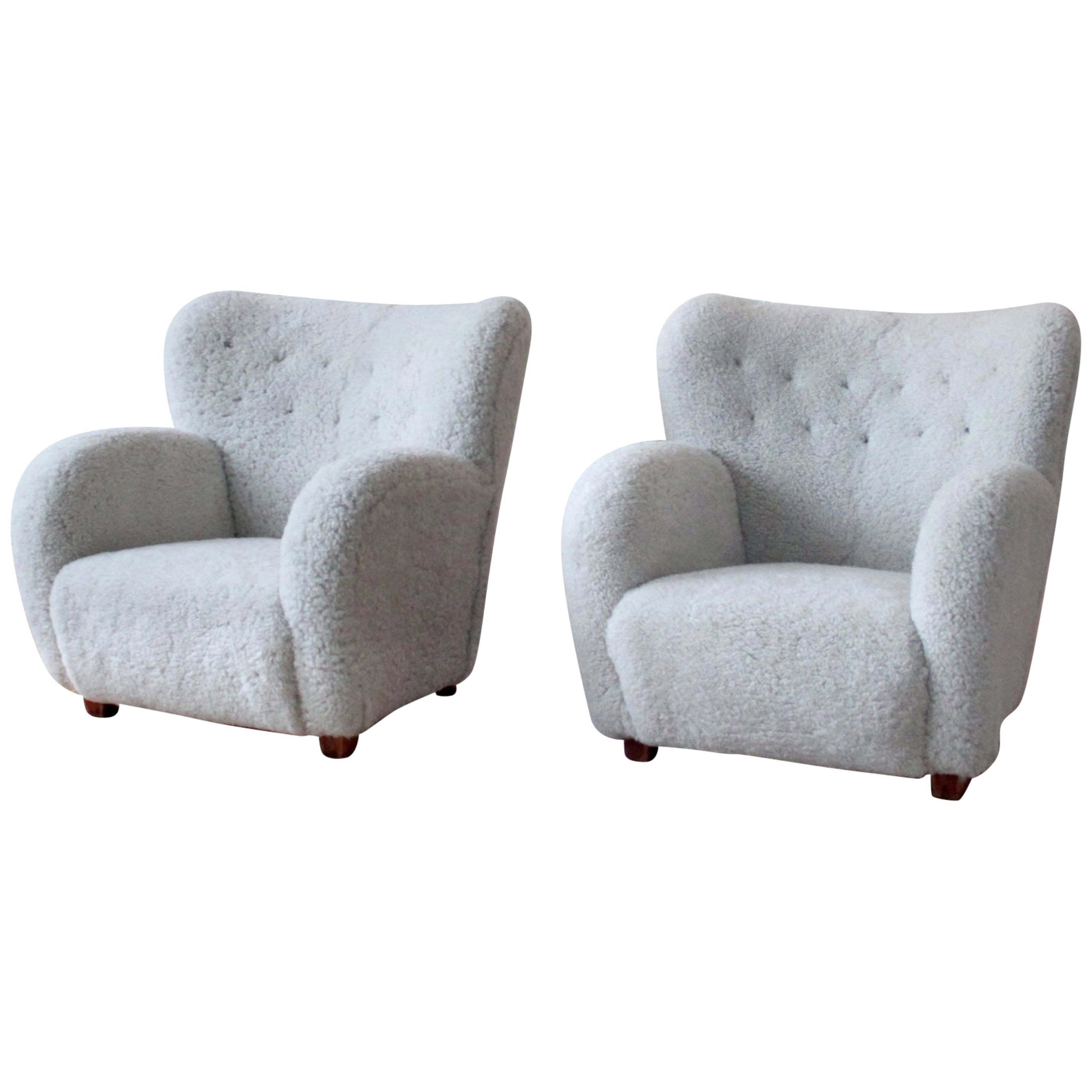 Pair of Scandinavian Modern Sheepskin Armchairs, Finland, 1950s