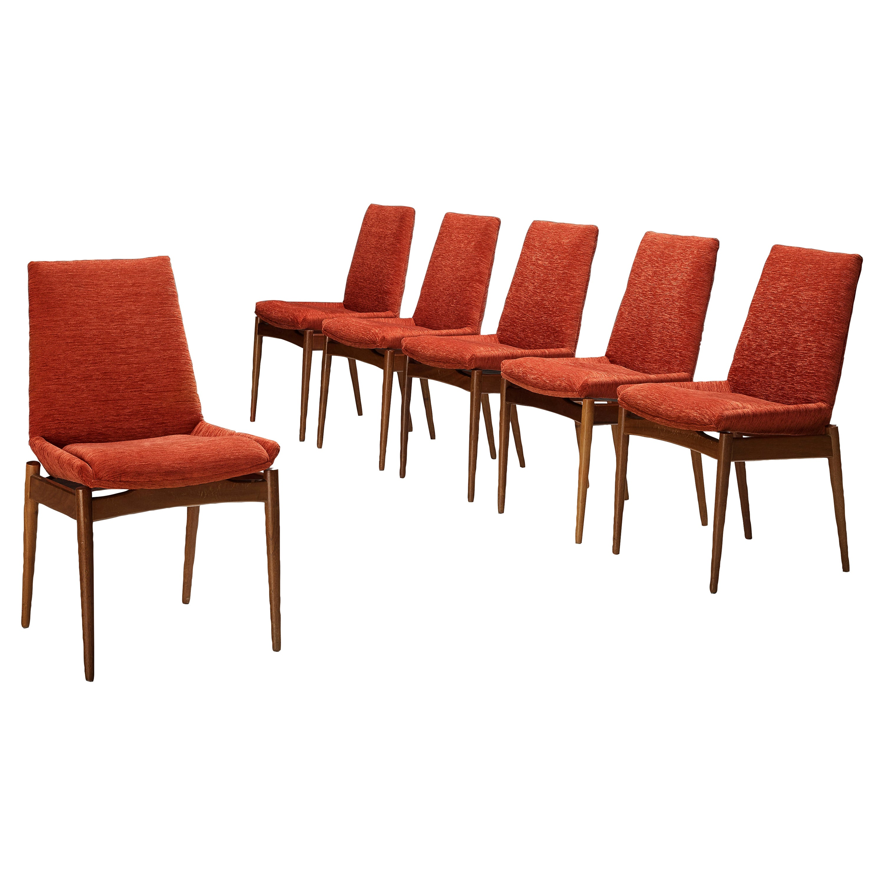 Scandinavian Dining Chairs in Teak and Red/Orange Cord Upholstery