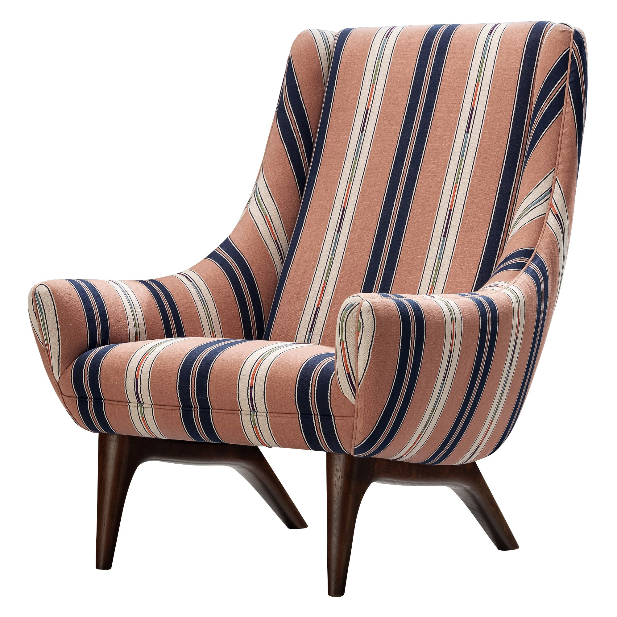 Danish Lounge Chair in Pink/White Striped Fabric