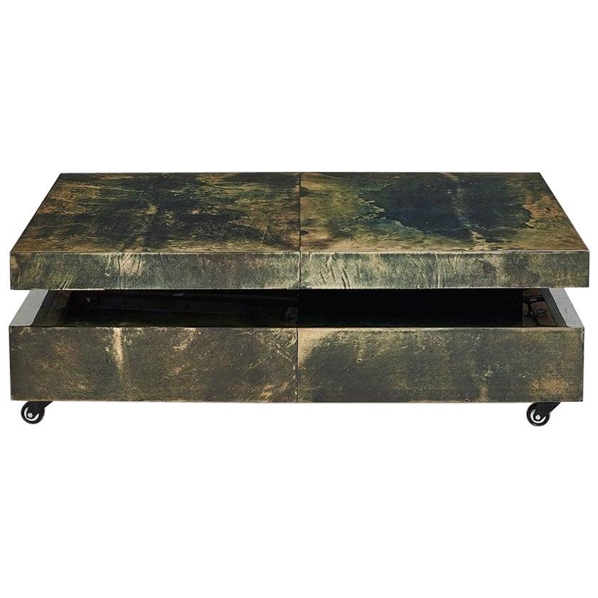 Aldo Tura Green Goat Skin Lacquered Coffee Table