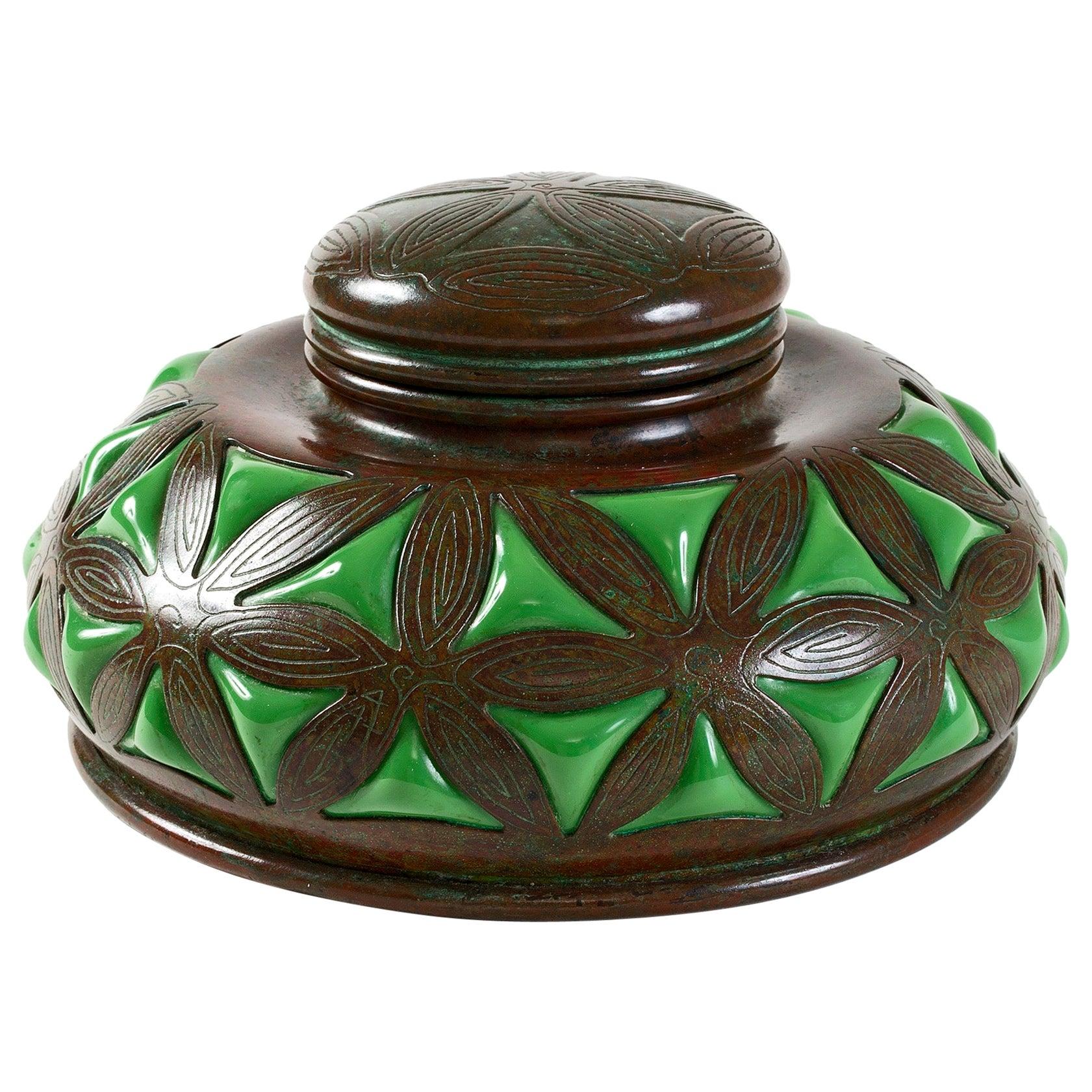 Tiffany Studios New York Bronze and Green Glass Inkwell