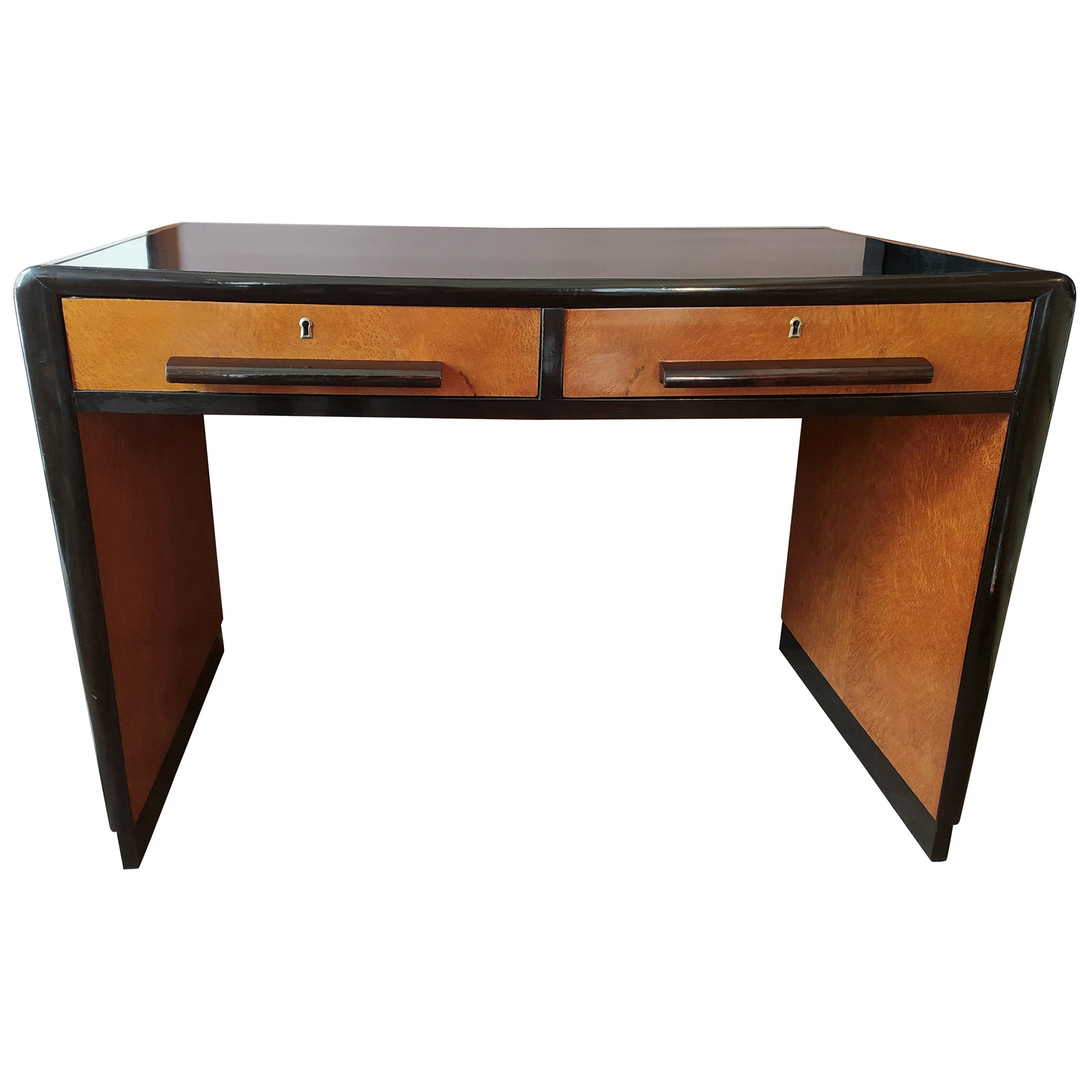 Astonishing Art Deco Desk in Briar Root and Ebonized Wood, France, 1930