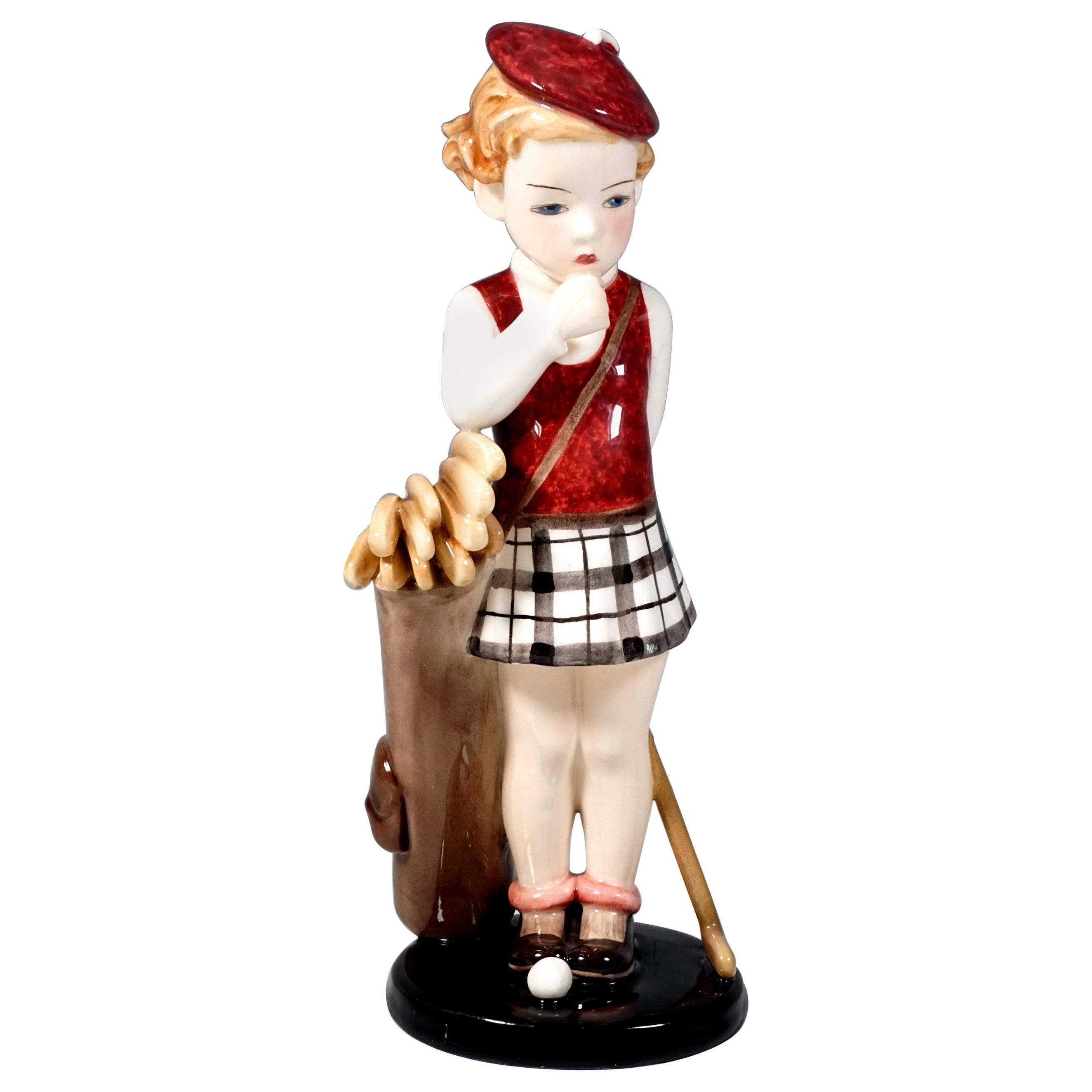 Goldscheider Art Deco Figurine Girl with Golf Bag by Stephan Dakon, circa 1937
