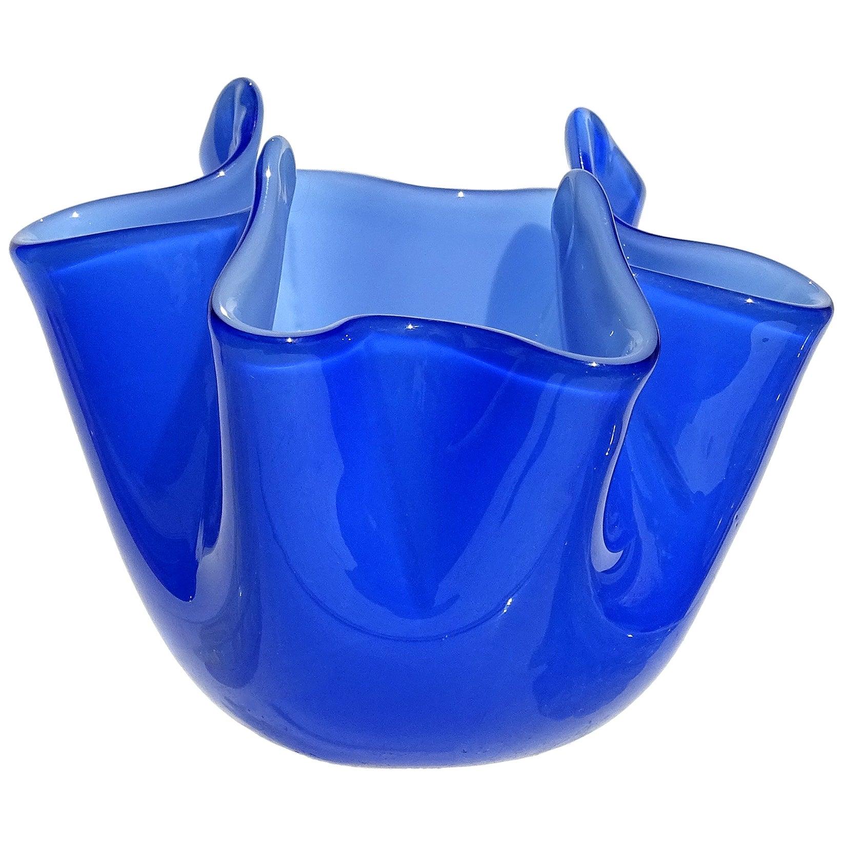Venini Fulvio Bianconi Murano Blue Incamiciato Italian Art Glass Fazzoletto Vase